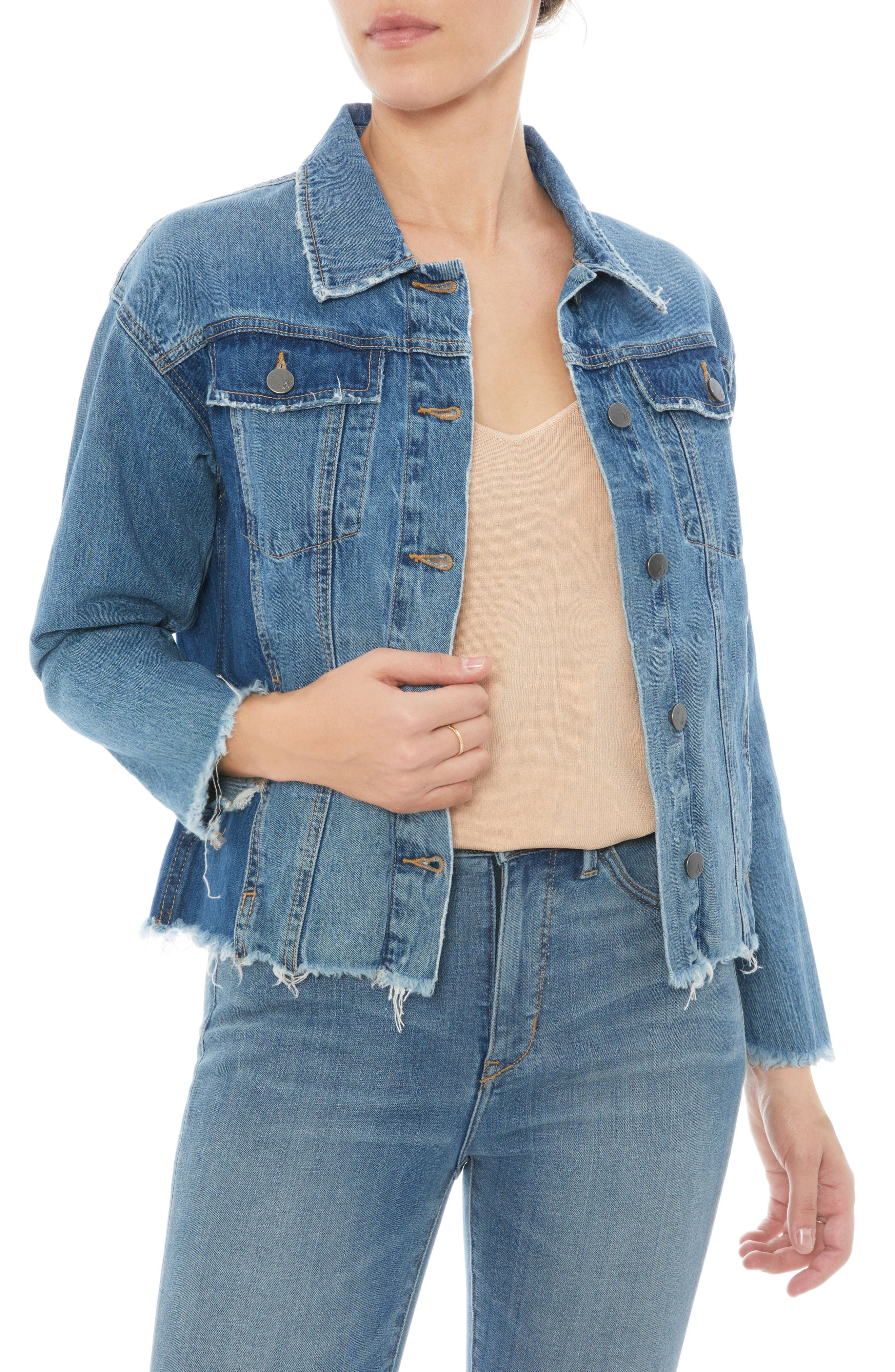 The Karlie Raw Edge Denim Jacket,                             Main thumbnail 1, color,                             410