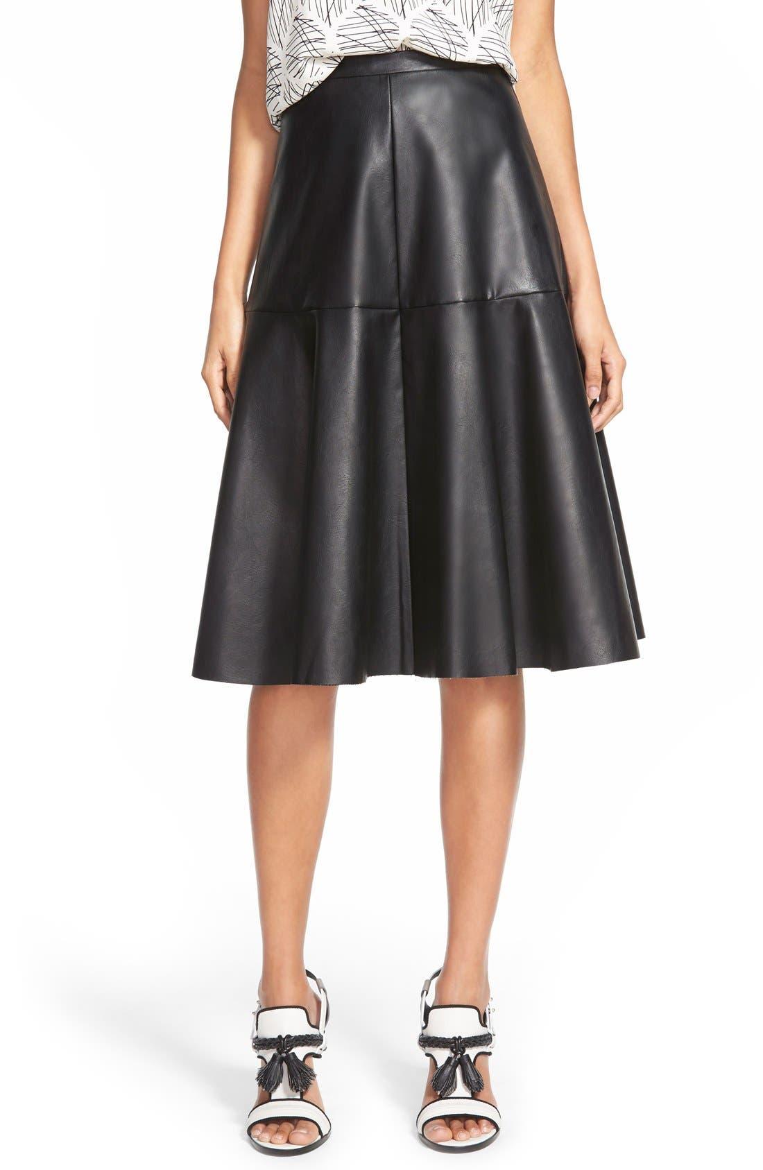 Faux Leather Midi Skirt,                             Main thumbnail 1, color,                             001