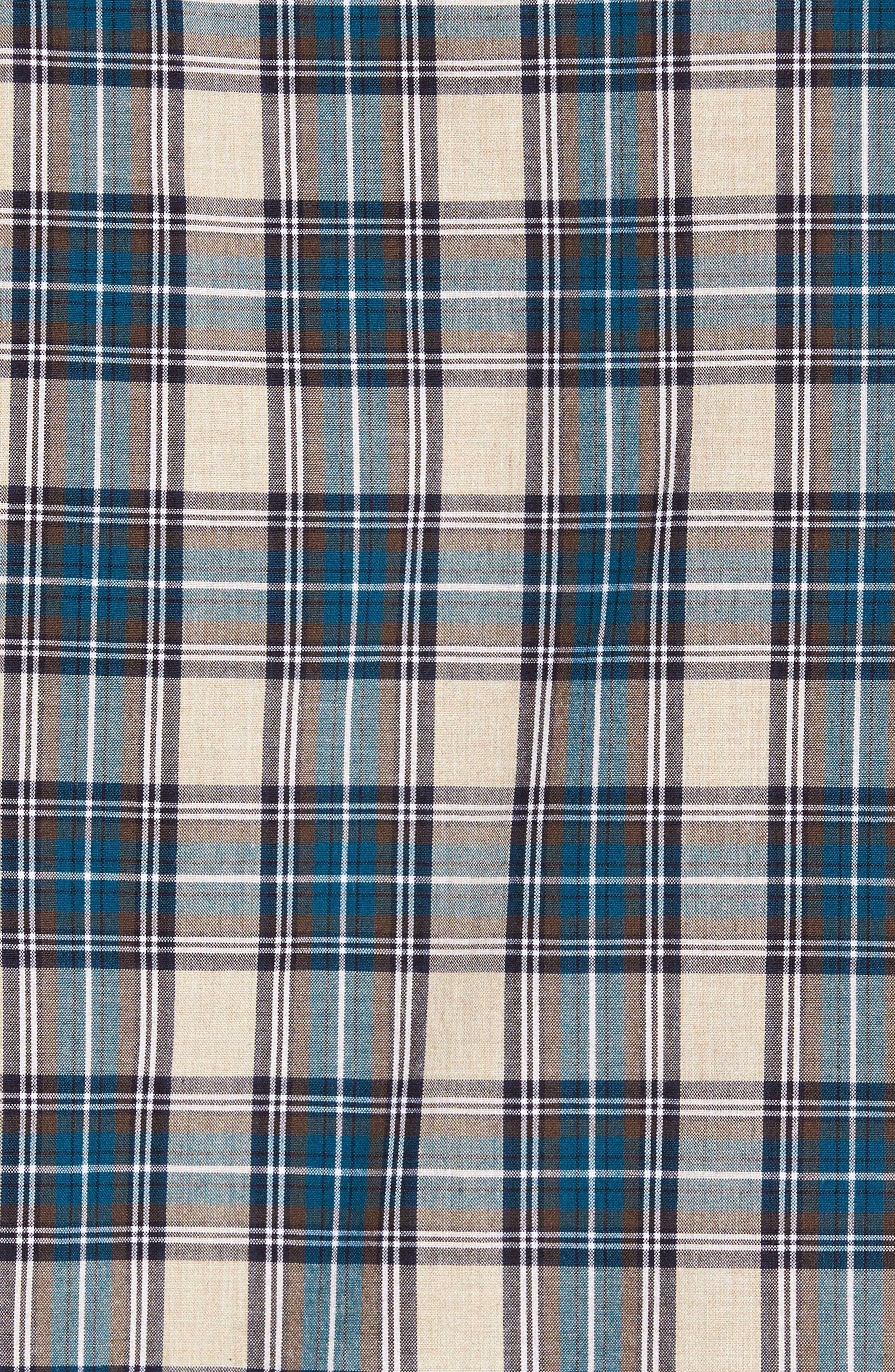 Washed Slim Fit Plaid Sport Shirt,                             Alternate thumbnail 5, color,                             400