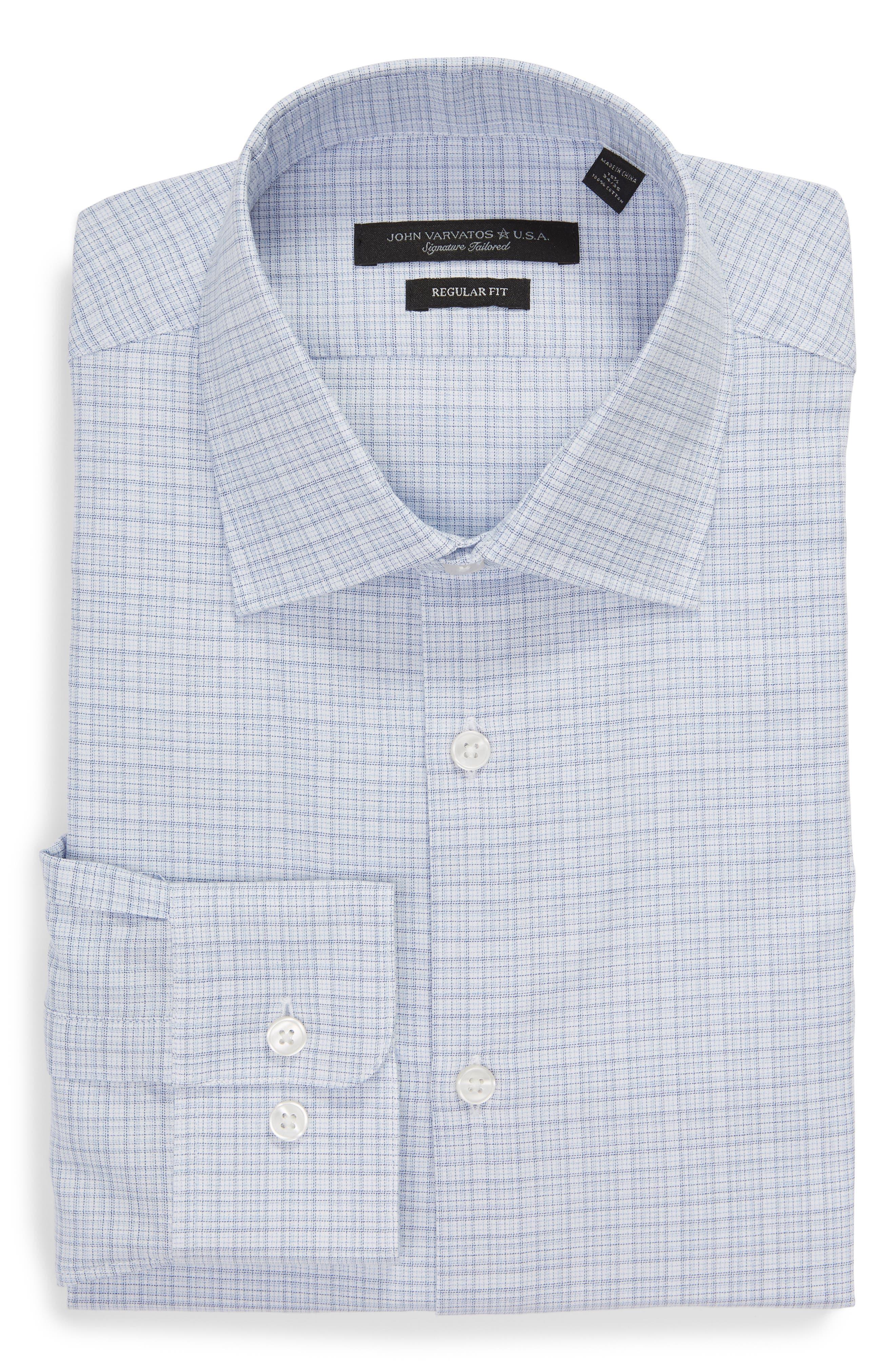 Regular Fit Plaid Dress Shirt,                             Alternate thumbnail 5, color,                             SKY BLUE