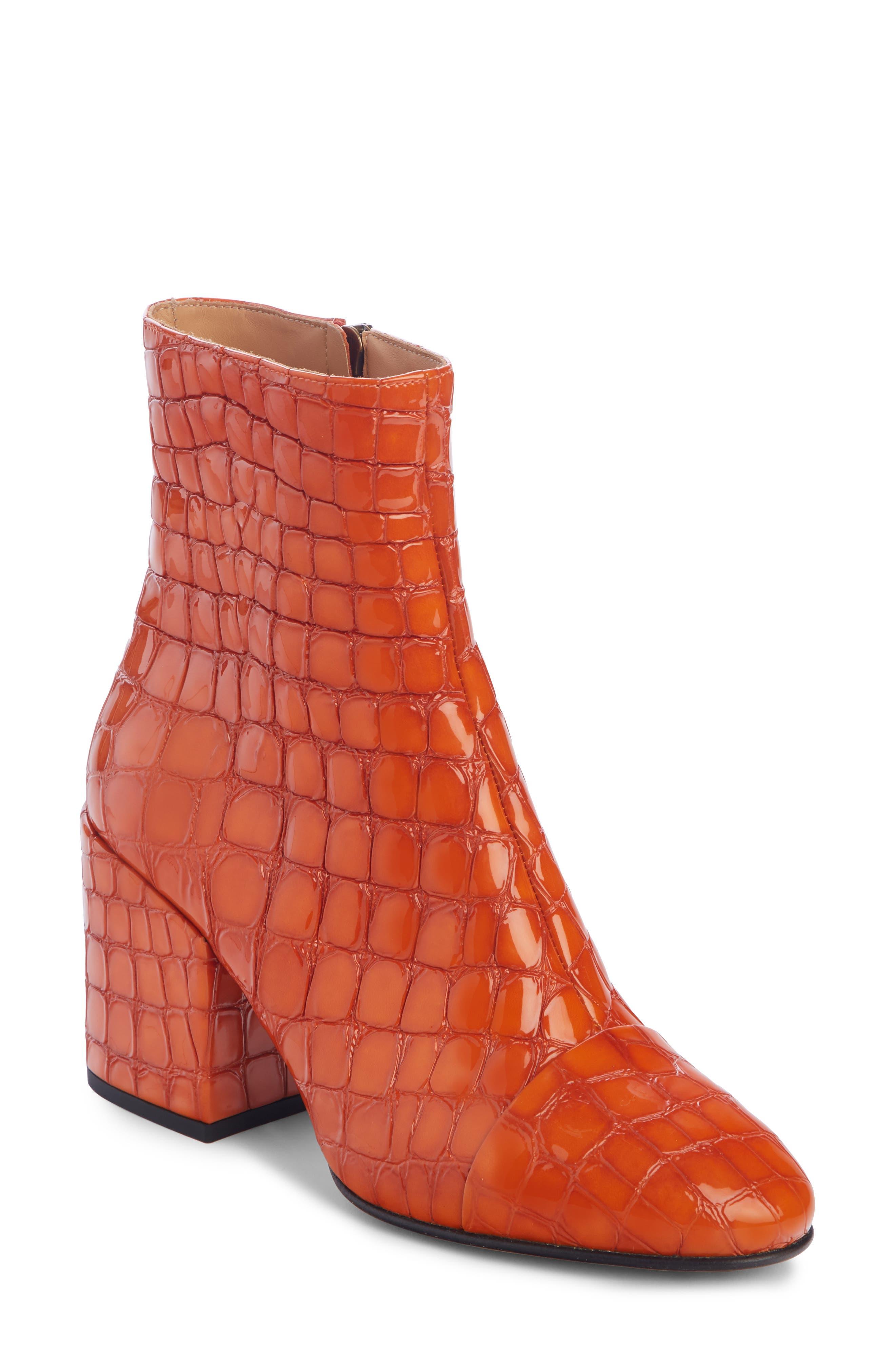 Shiny Crocodile-Print Booties in Orange