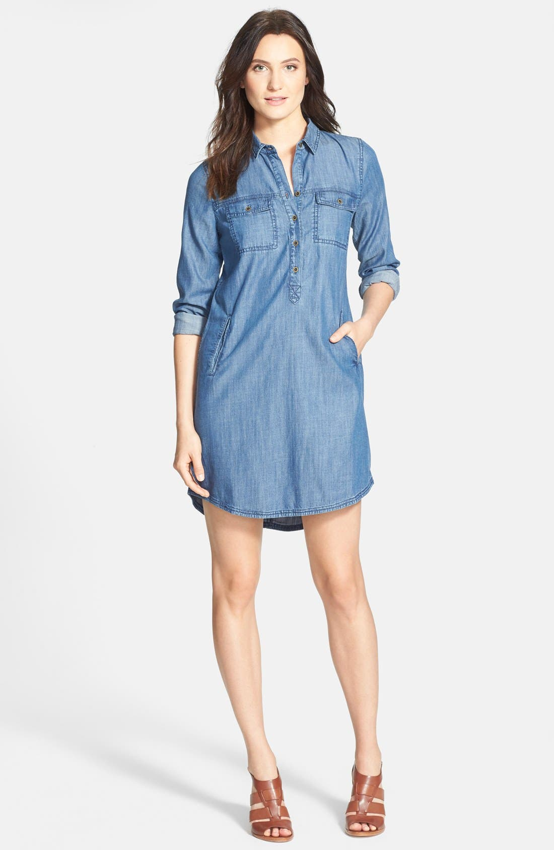 The Fisher Project Classic Collar Chambray Shirtdress, Main, color, 480