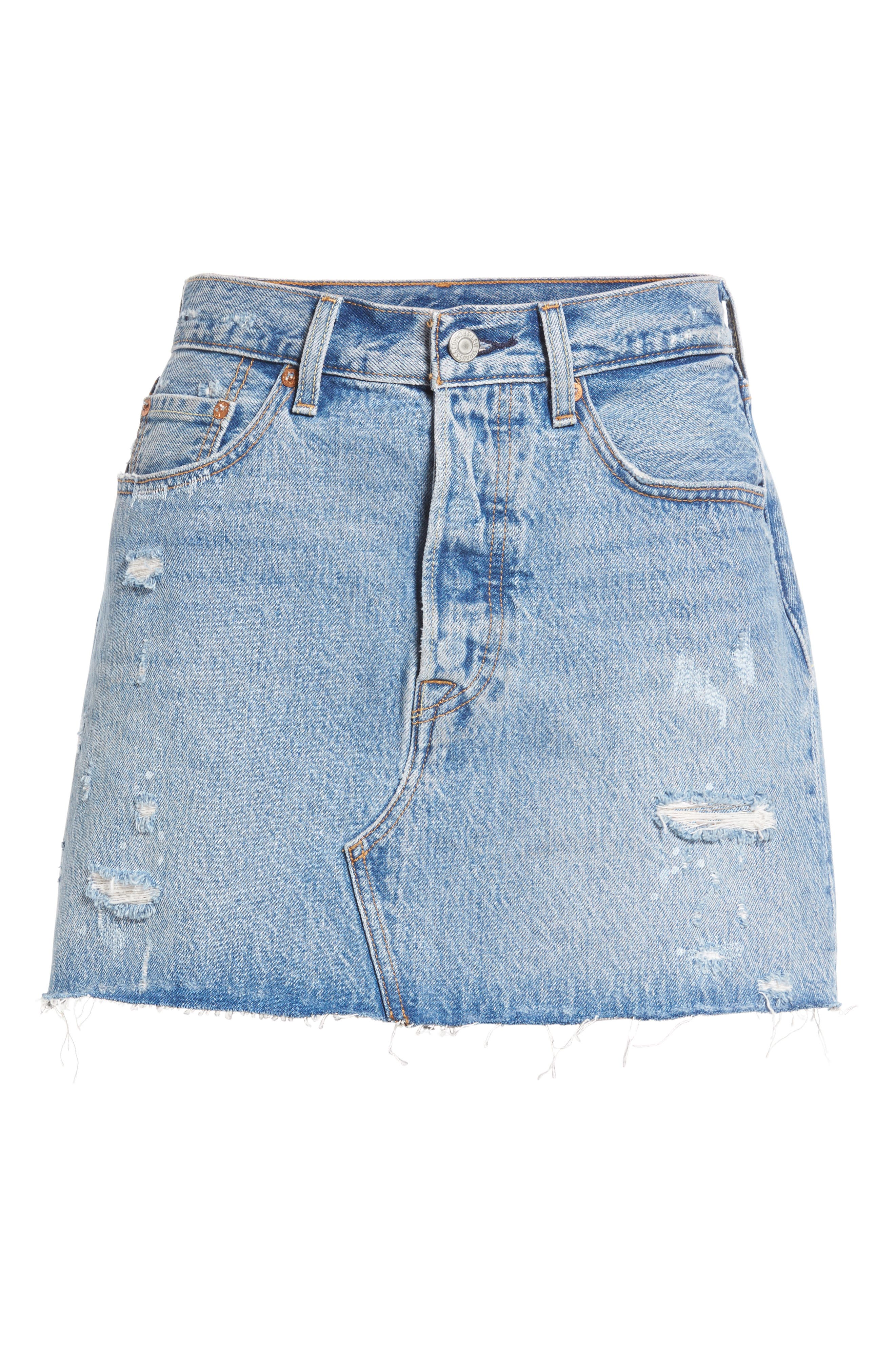 Deconstructed Denim Skirt,                             Alternate thumbnail 6, color,                             420
