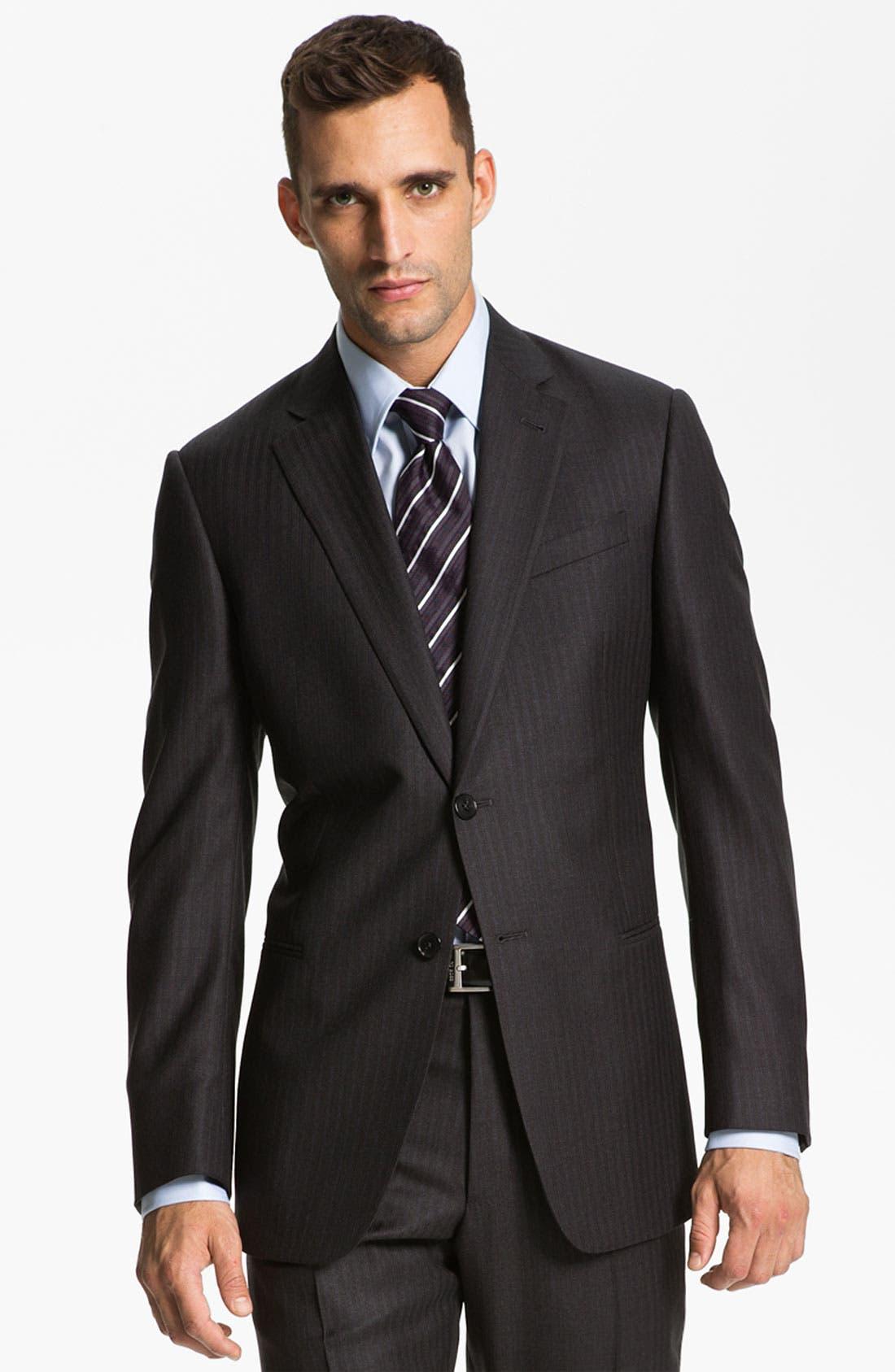 Armani Collezioni 'Giorgio' Trim Fit Stripe Suit,                             Main thumbnail 1, color,                             024