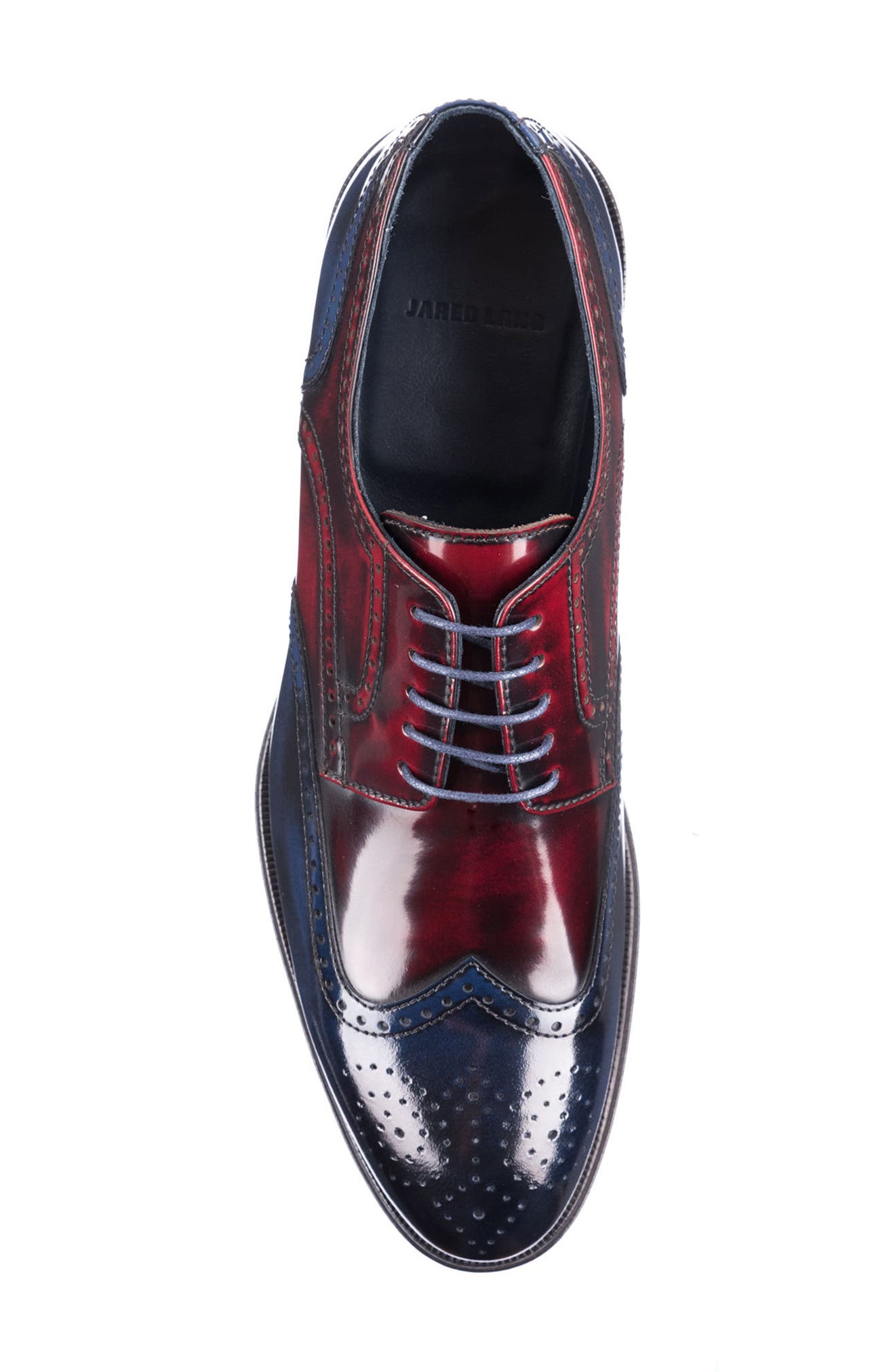 Bryce Wingtip Derby,                             Alternate thumbnail 5, color,                             RED/ BLUE LEATHER