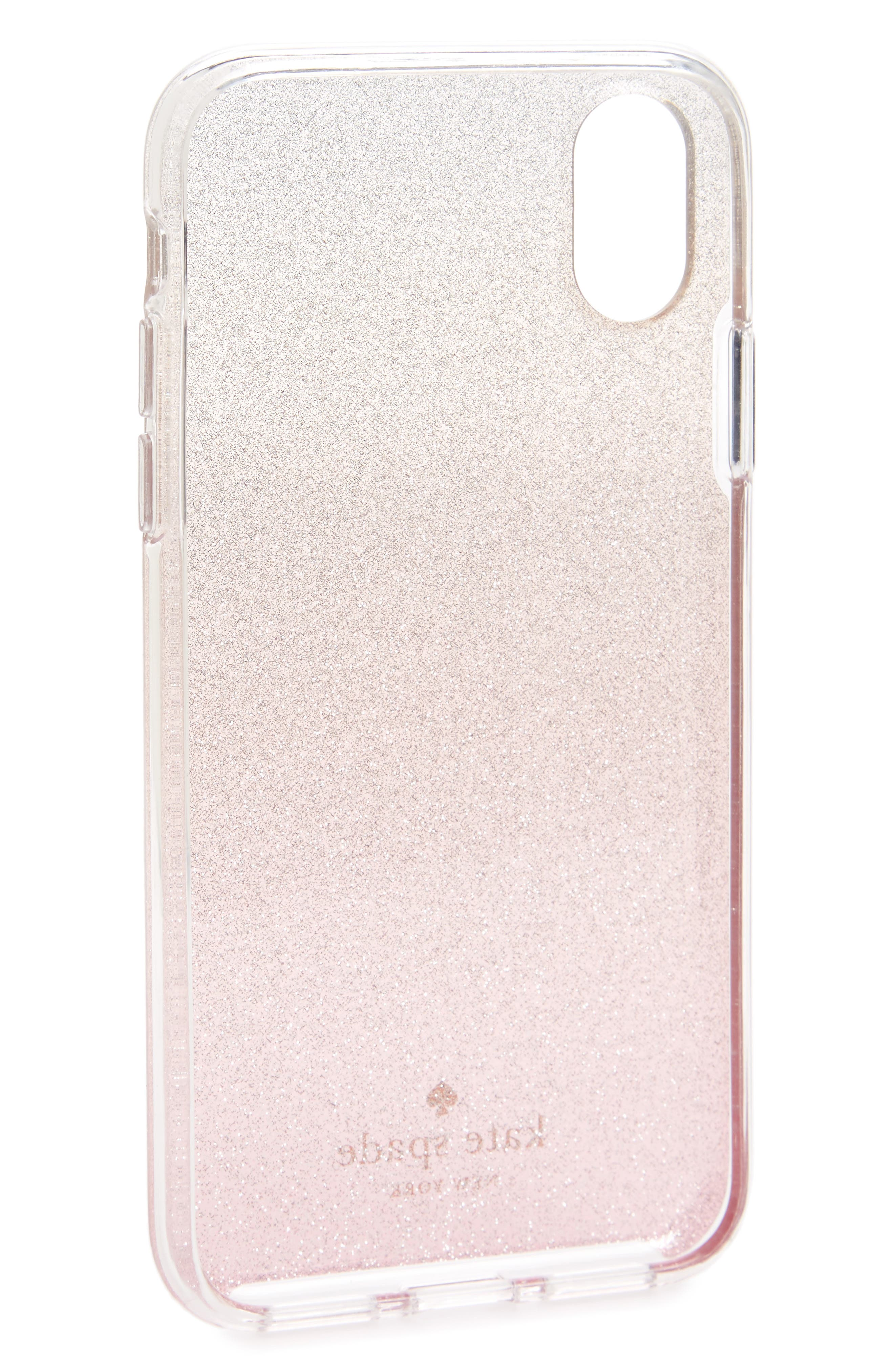 ombré glitter iPhone X/Xs case,                             Alternate thumbnail 2, color,                             PINK GLITTER