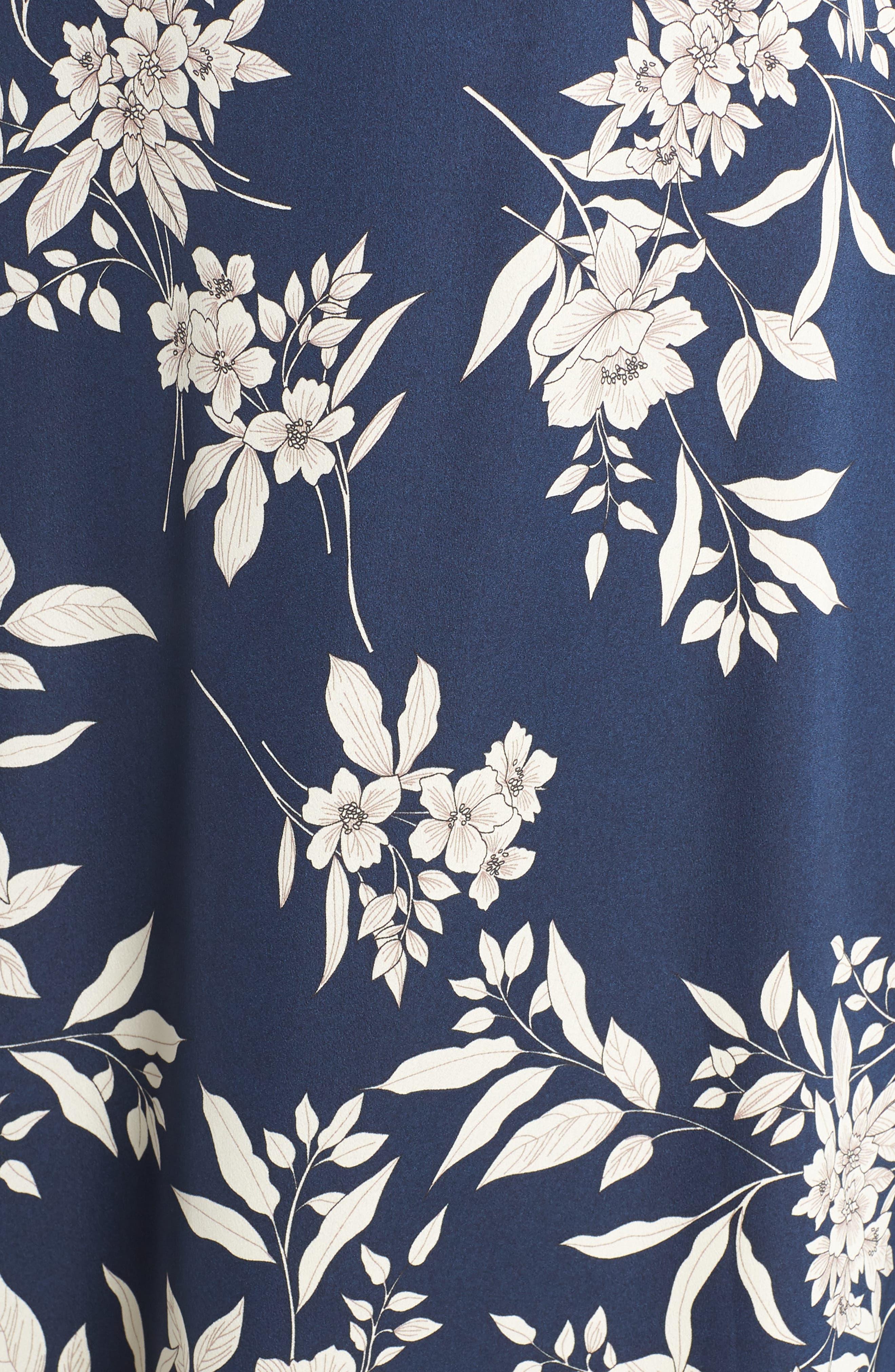 Etched Bouquet Midi Dress,                             Alternate thumbnail 6, color,                             INK BLUE