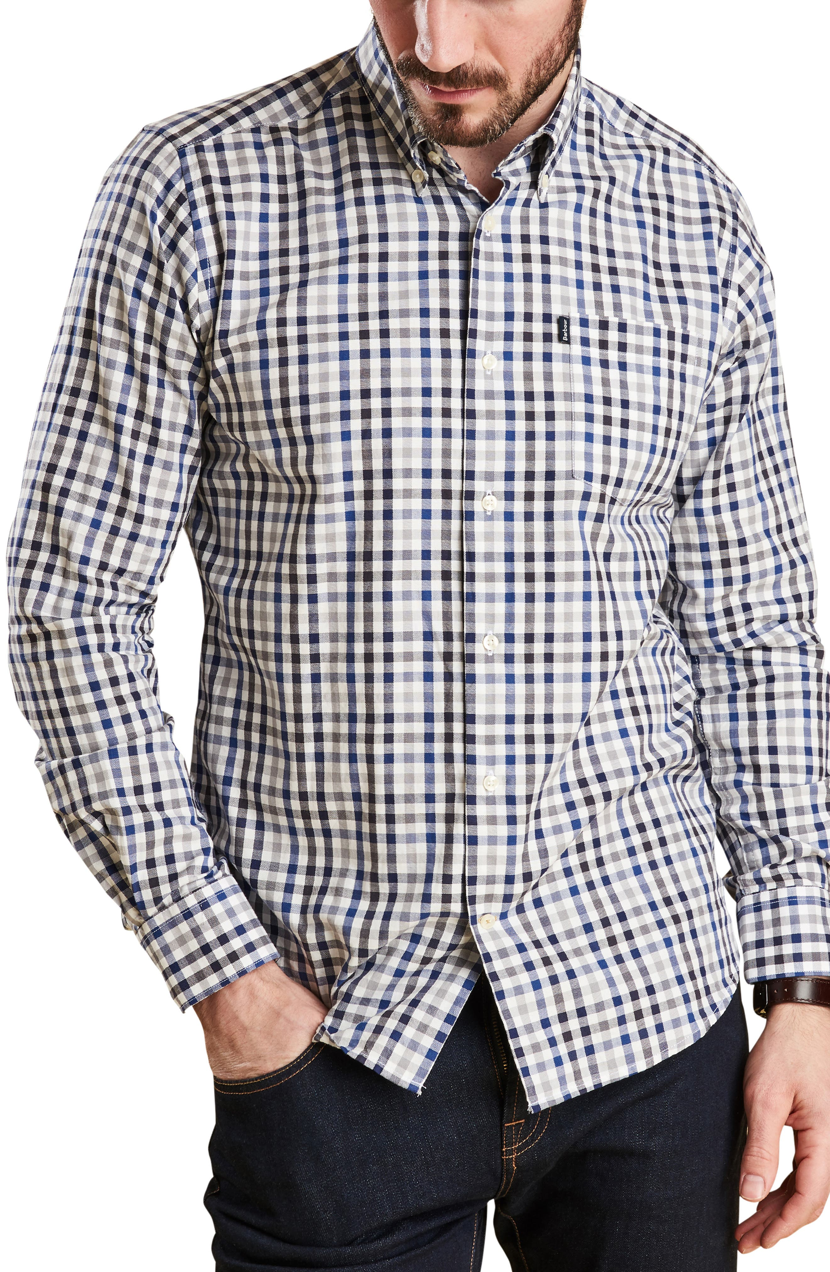 Bibury Tailored Fit Check Sport Shirt,                         Main,                         color, GREY
