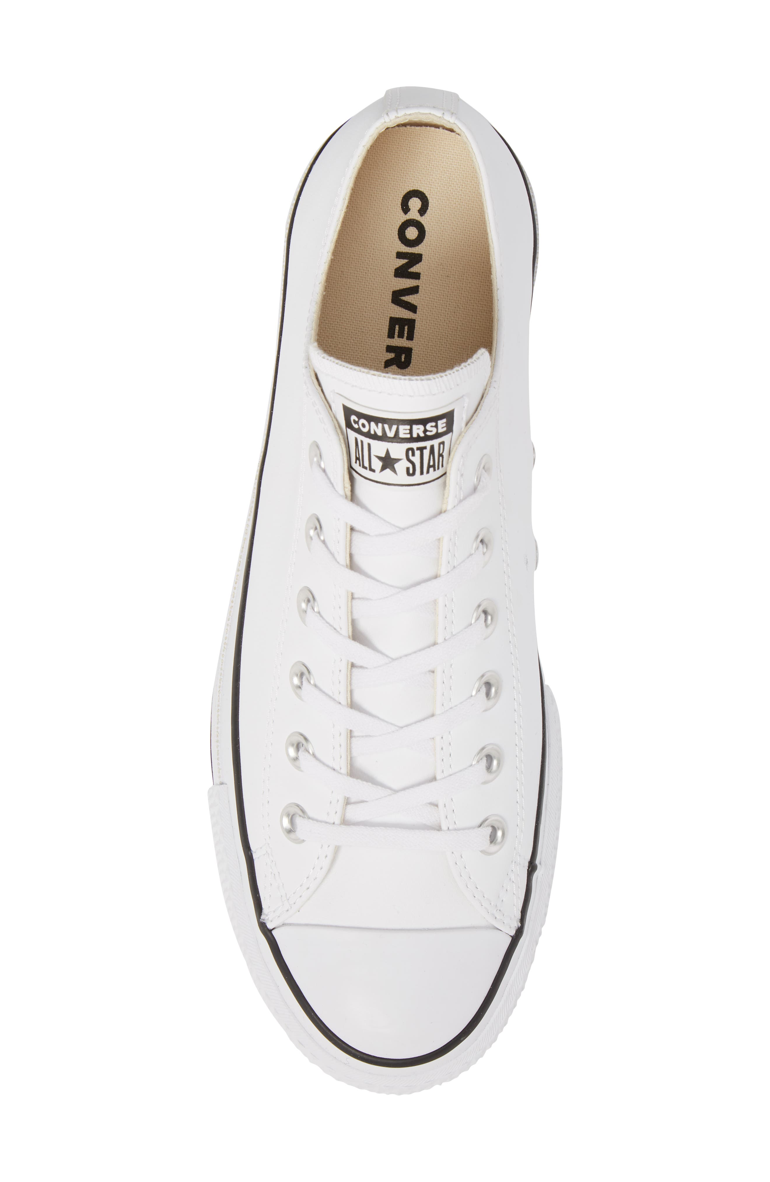 Chuck Taylor<sup>®</sup> All Star<sup>®</sup> Platform Sneaker,                             Alternate thumbnail 5, color,                             WHITE LEATHER