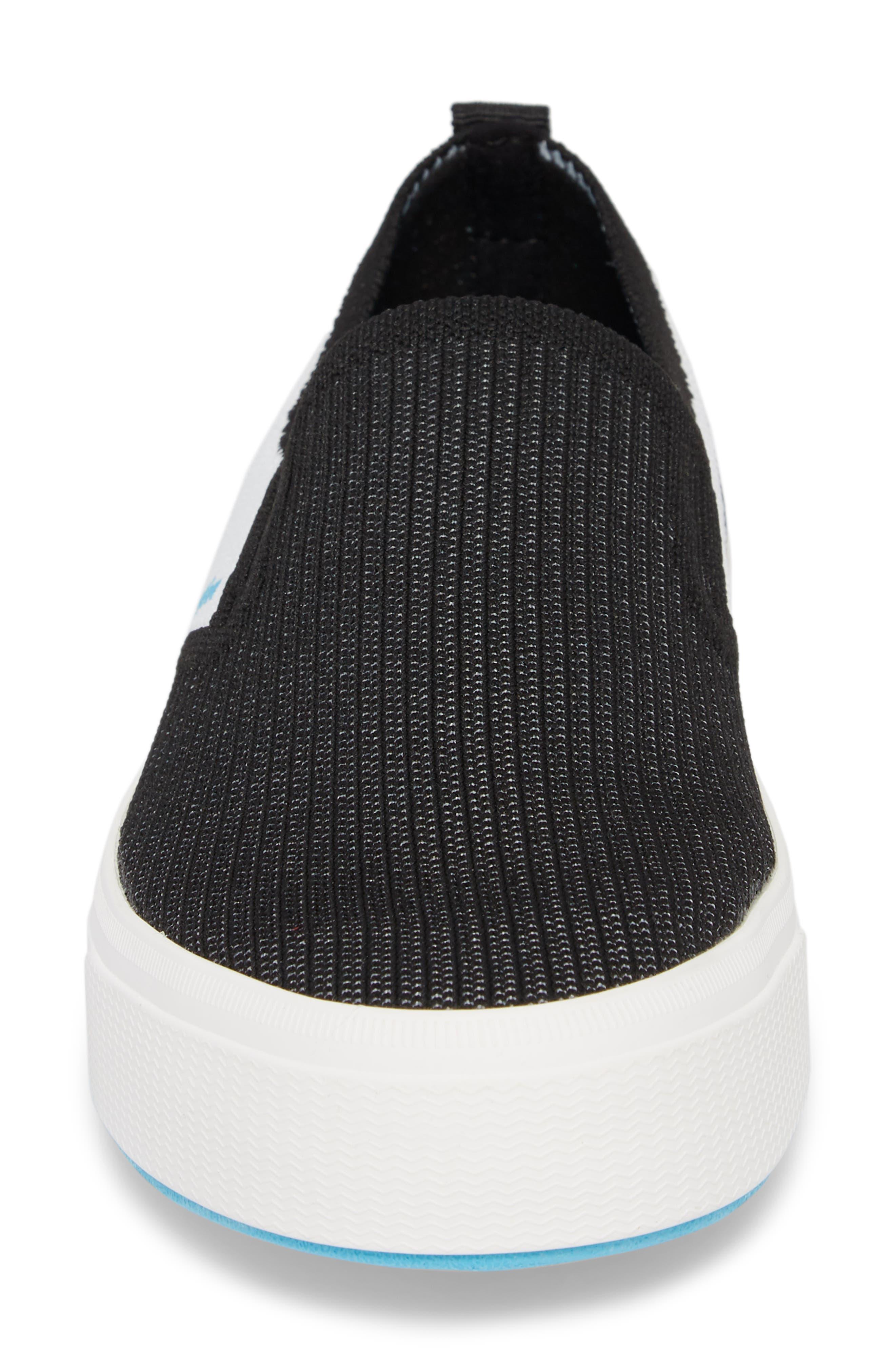 Native Miles LiteKnit Slip-On Sneaker,                             Alternate thumbnail 4, color,                             JIFFY BLACK/ SHELL WHITE