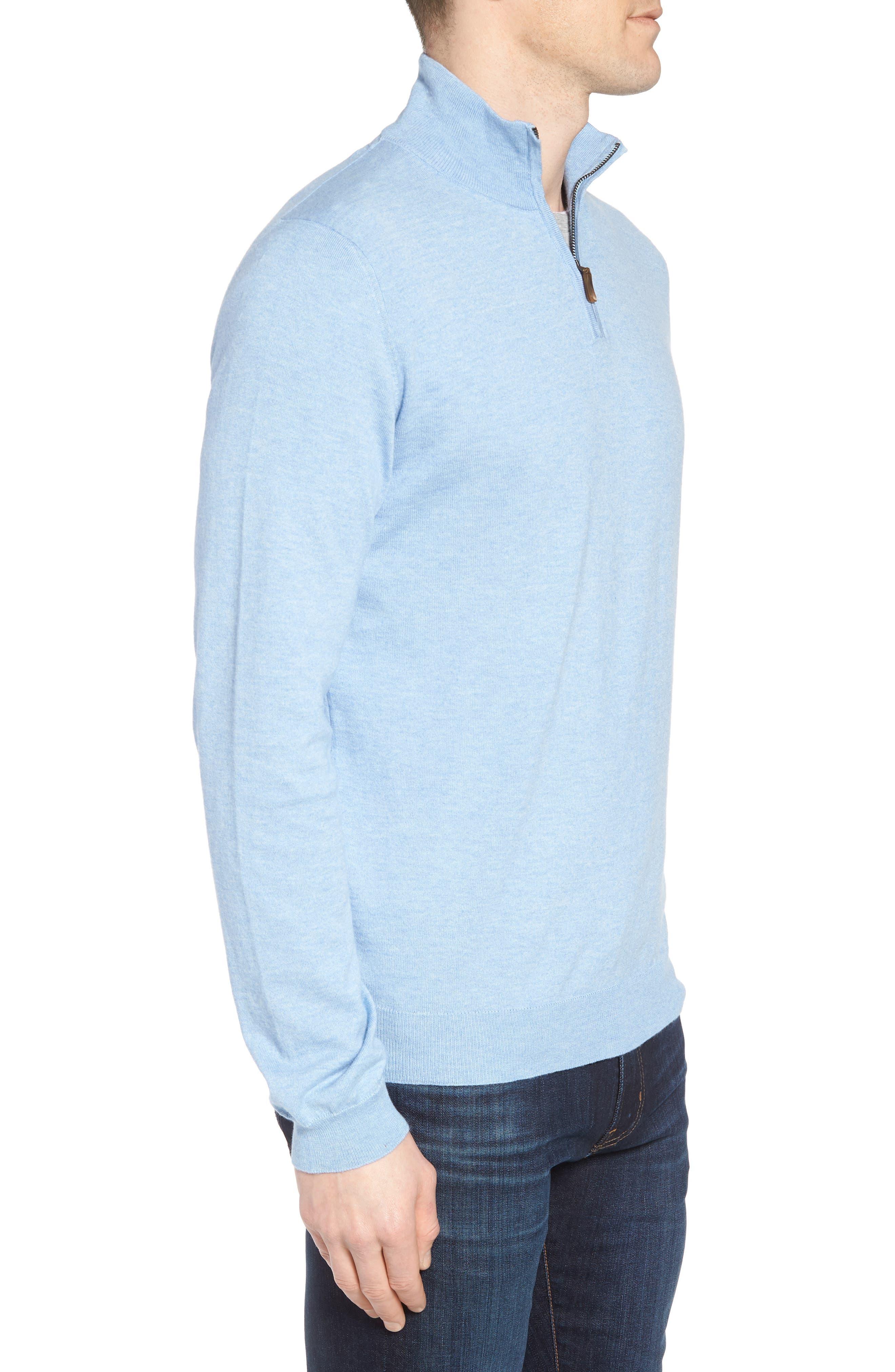 Cotton & Silk Quarter Zip Pullover,                             Alternate thumbnail 3, color,                             454