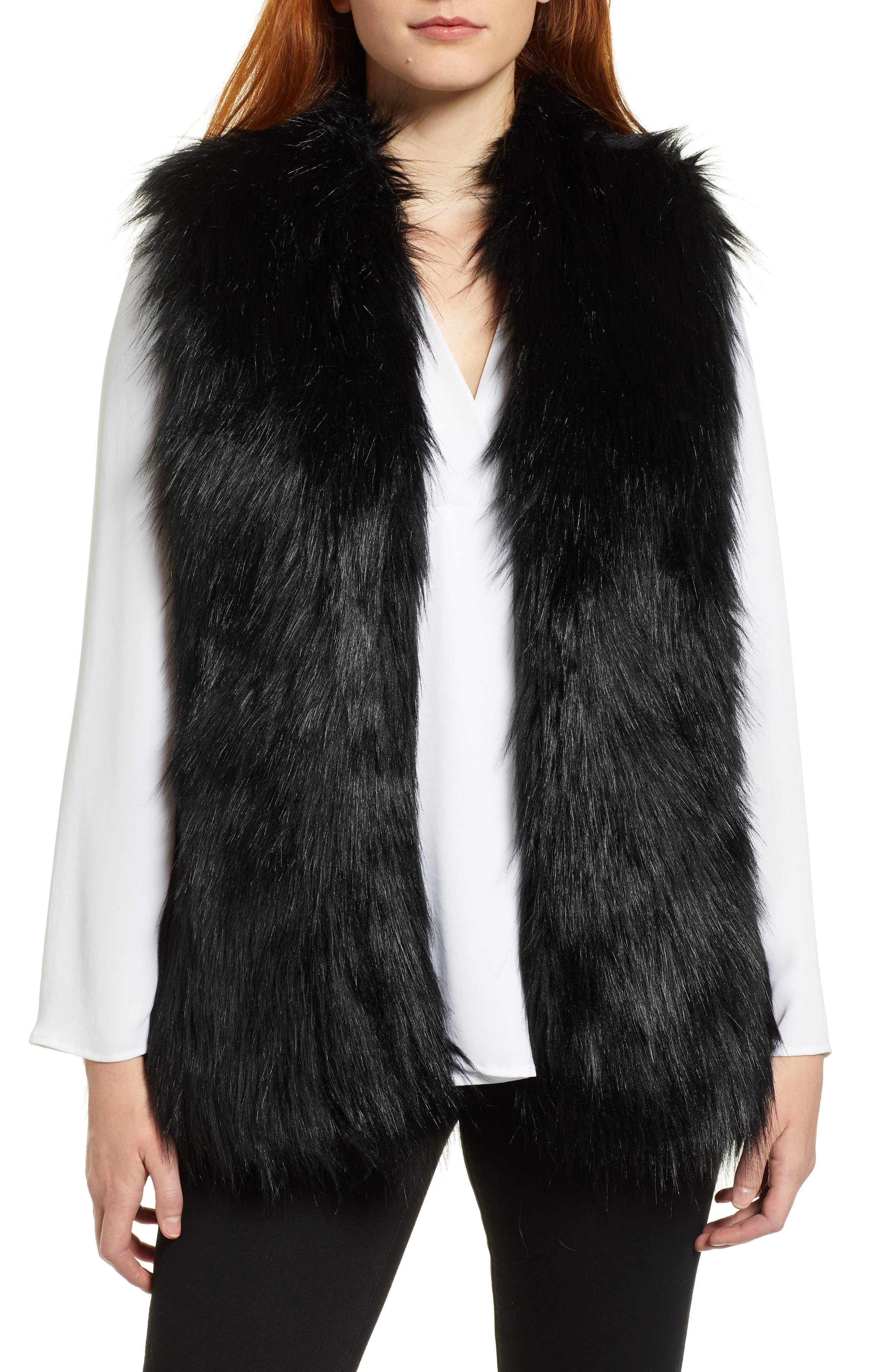 Faux Fur Vest,                         Main,                         color, RICH BLACK