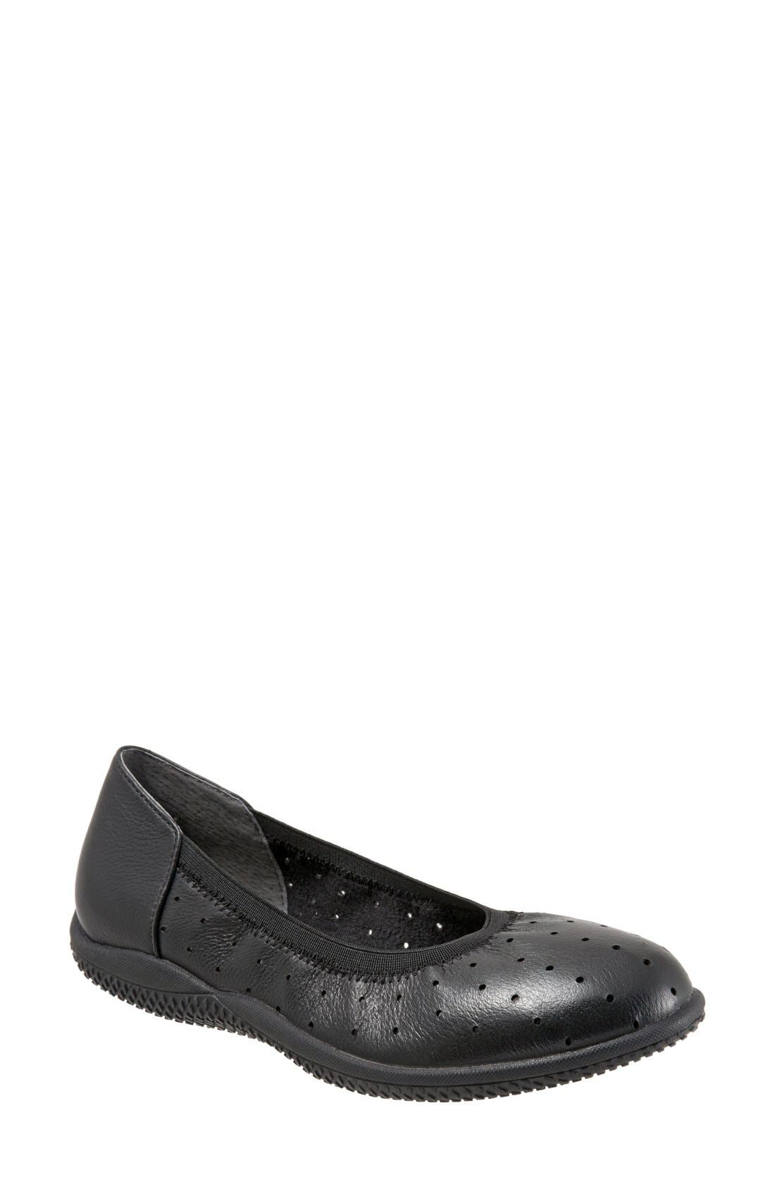 'Hampshire' Dot Perforated Ballet Flat,                             Main thumbnail 1, color,                             BLACK LEATHER