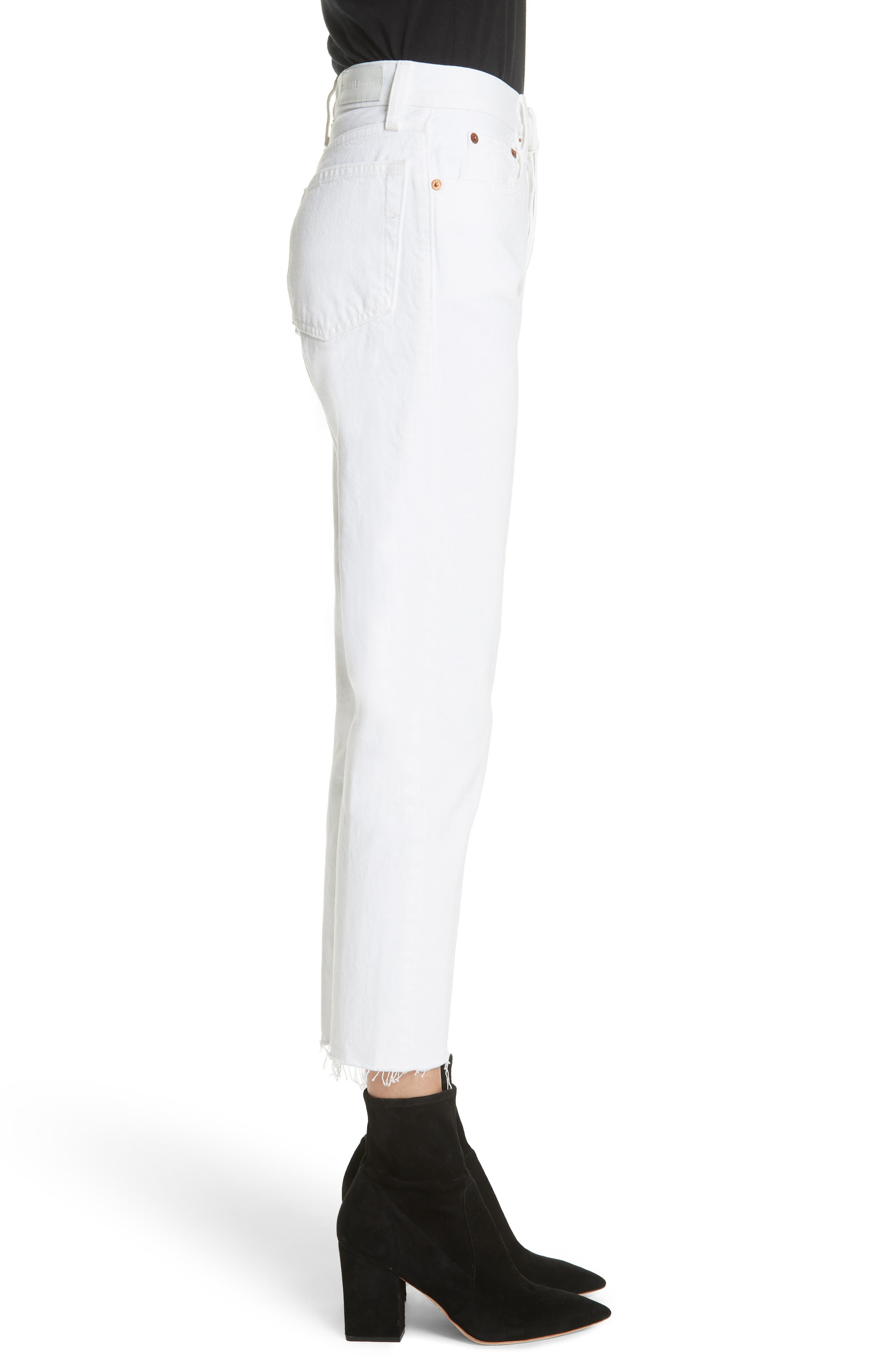 Originals High Waist Stove Pipe Jeans,                             Alternate thumbnail 3, color,                             WHITE
