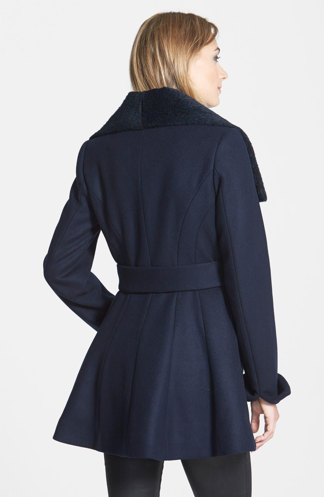 'New Jane' Wool & Alpaca Blend Trim Wrap Coat,                             Alternate thumbnail 3, color,                             410