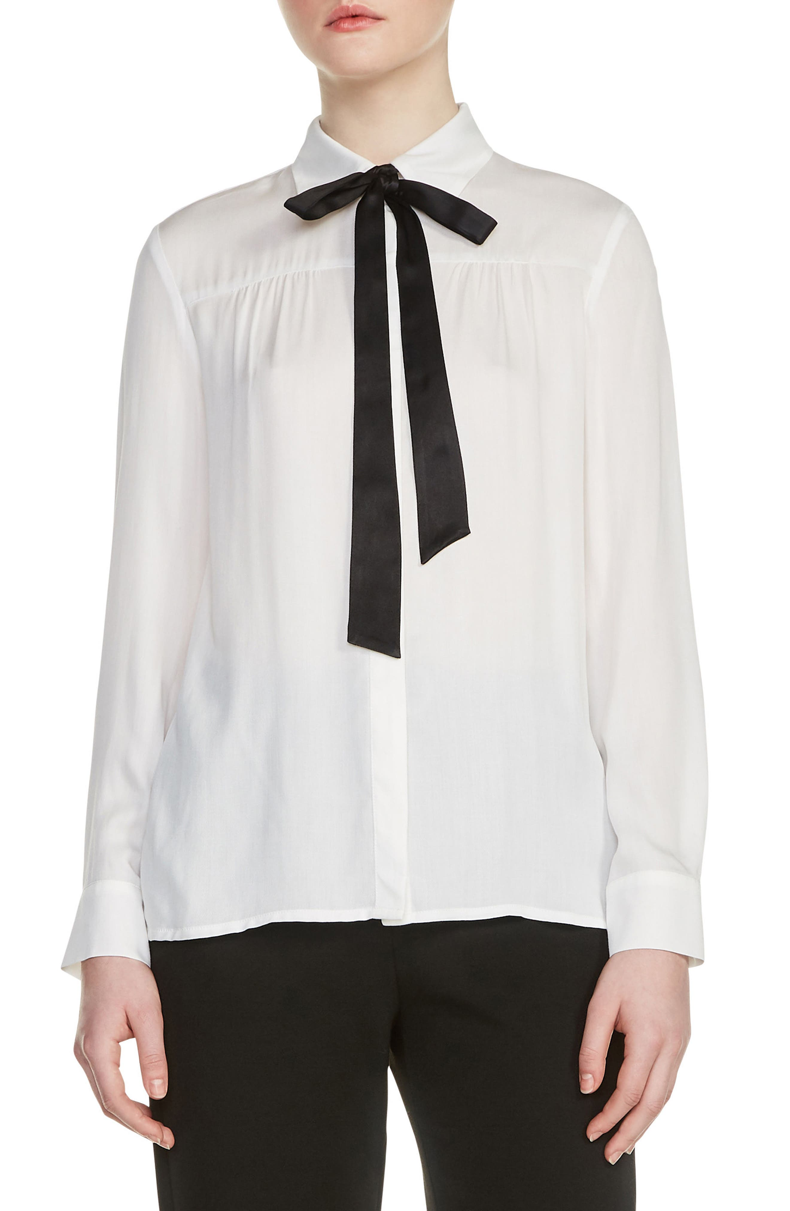 Caryota Tie Neck Blouse,                         Main,                         color, 100
