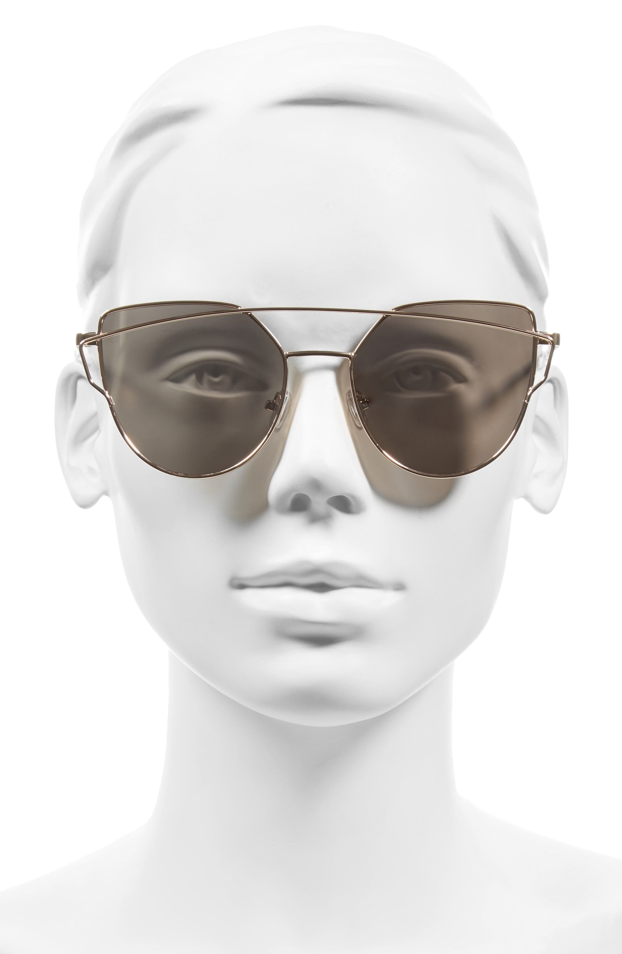 51mm Thin Brow Angular Aviator Sunglasses,                             Alternate thumbnail 20, color,