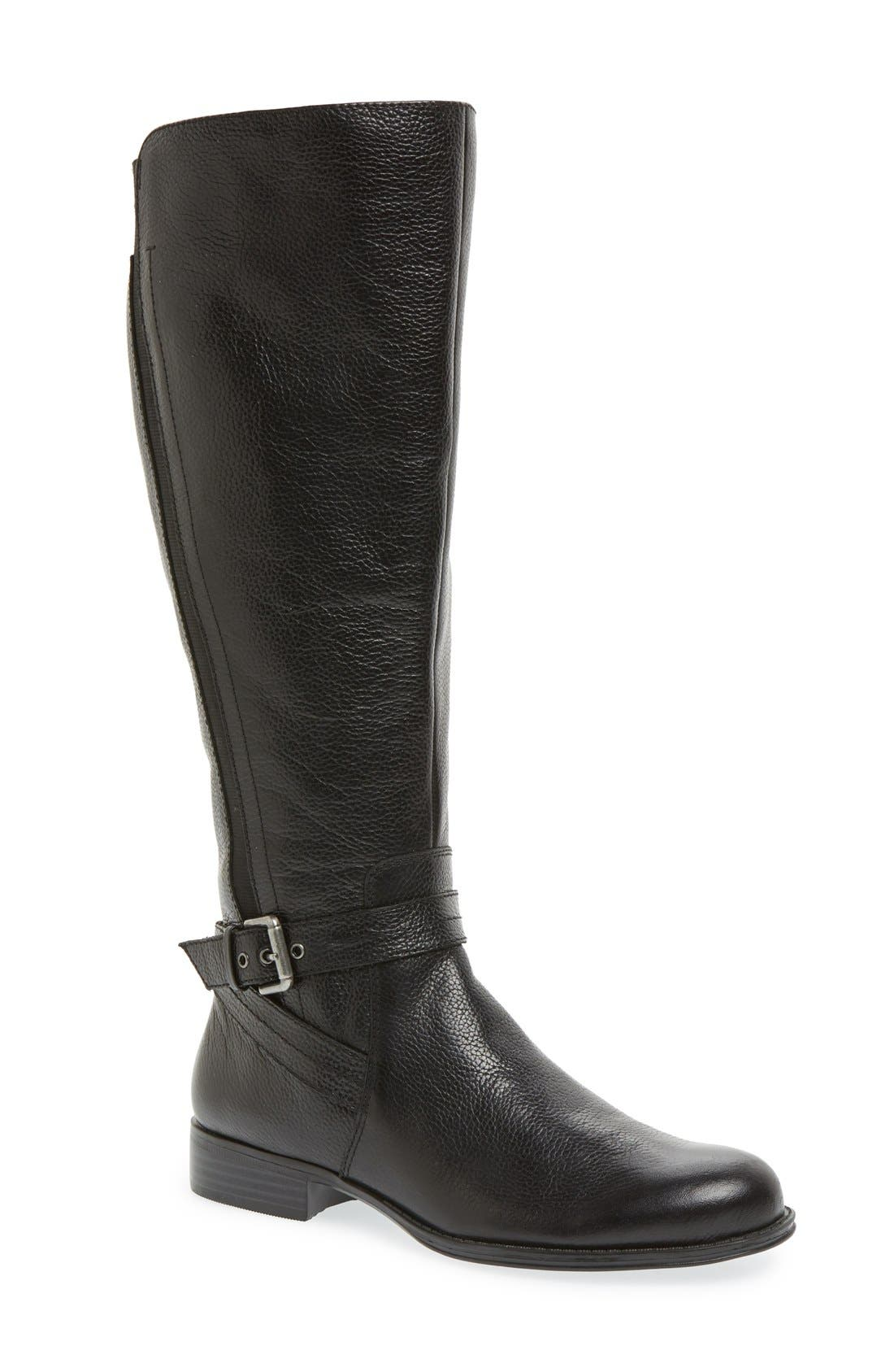 'Jelina' Riding Boot,                         Main,                         color, BLACK LEATHER