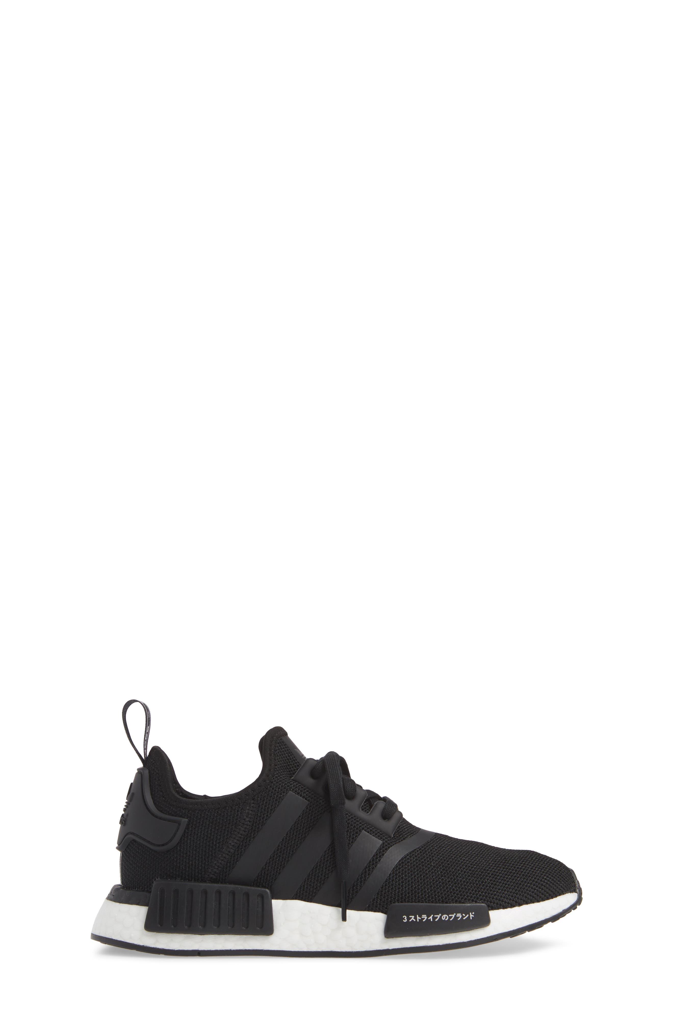 NMD R1 Sneaker,                             Alternate thumbnail 3, color,                             CORE BLACK/ BLACK/ ORCHID TINT