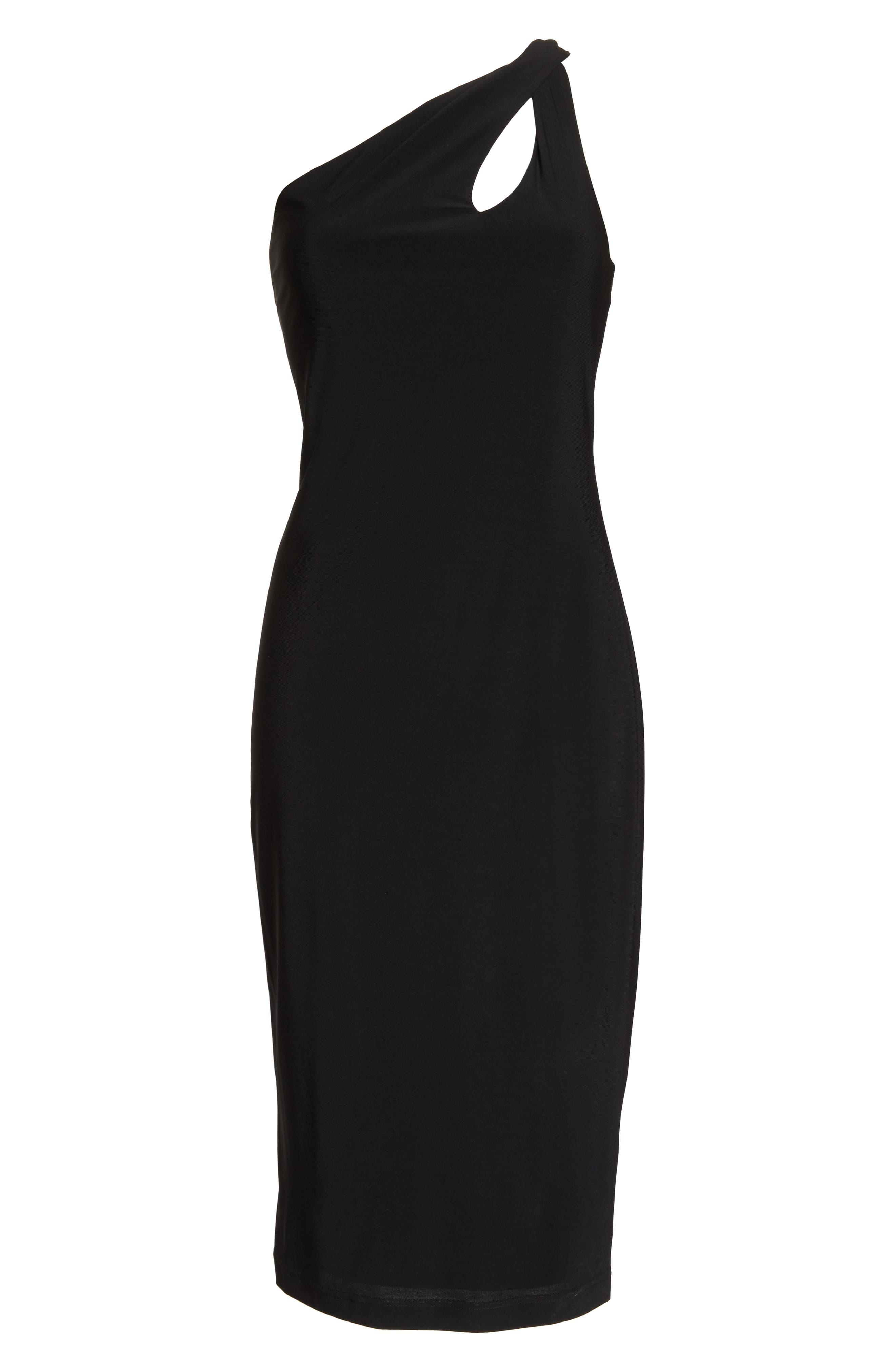 One-Shoulder Dress,                             Alternate thumbnail 6, color,                             BLACK