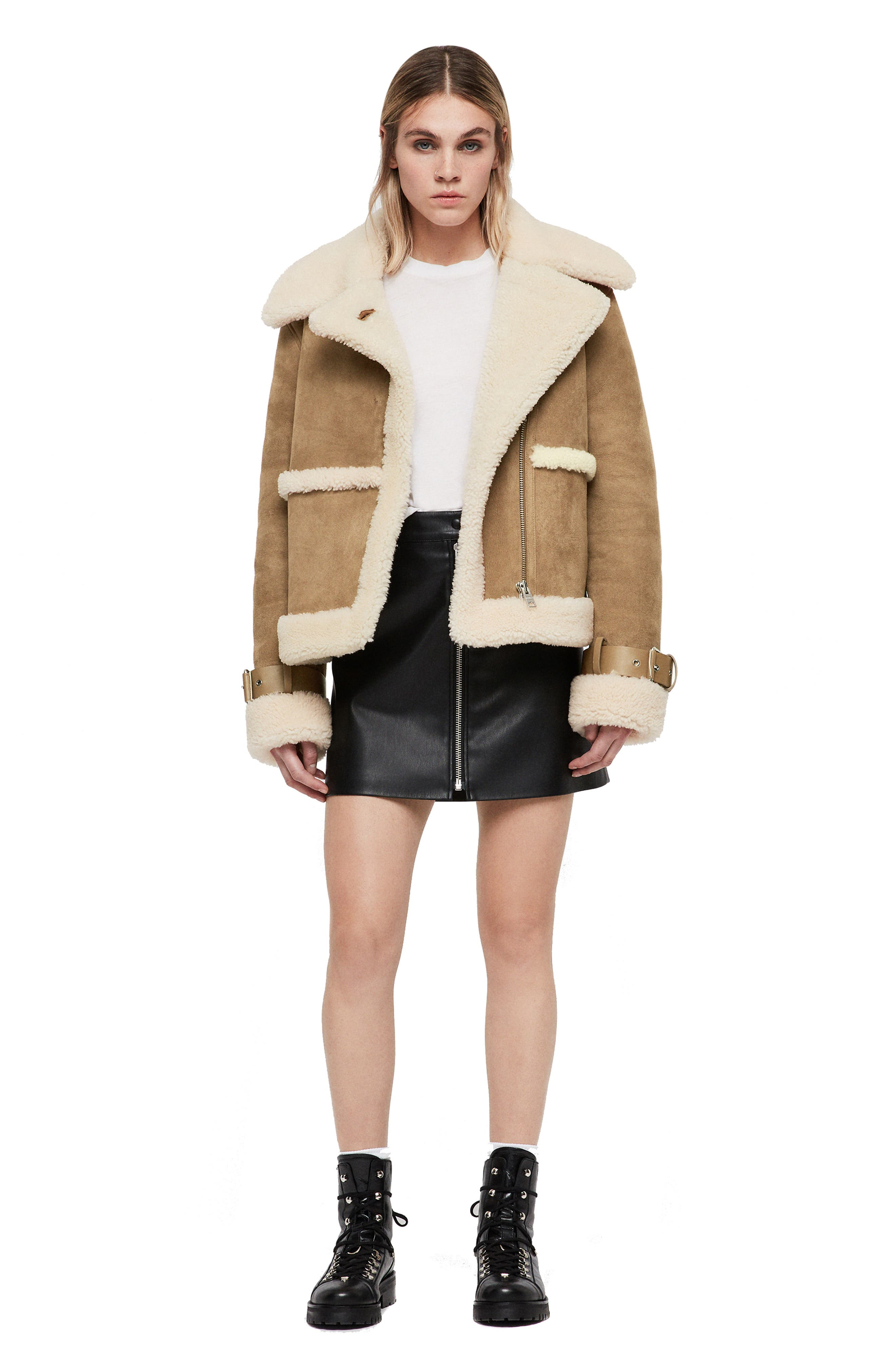 Farley Genuine Shearling Jacket,                             Alternate thumbnail 6, color,                             SAND BROWN/ ECRU