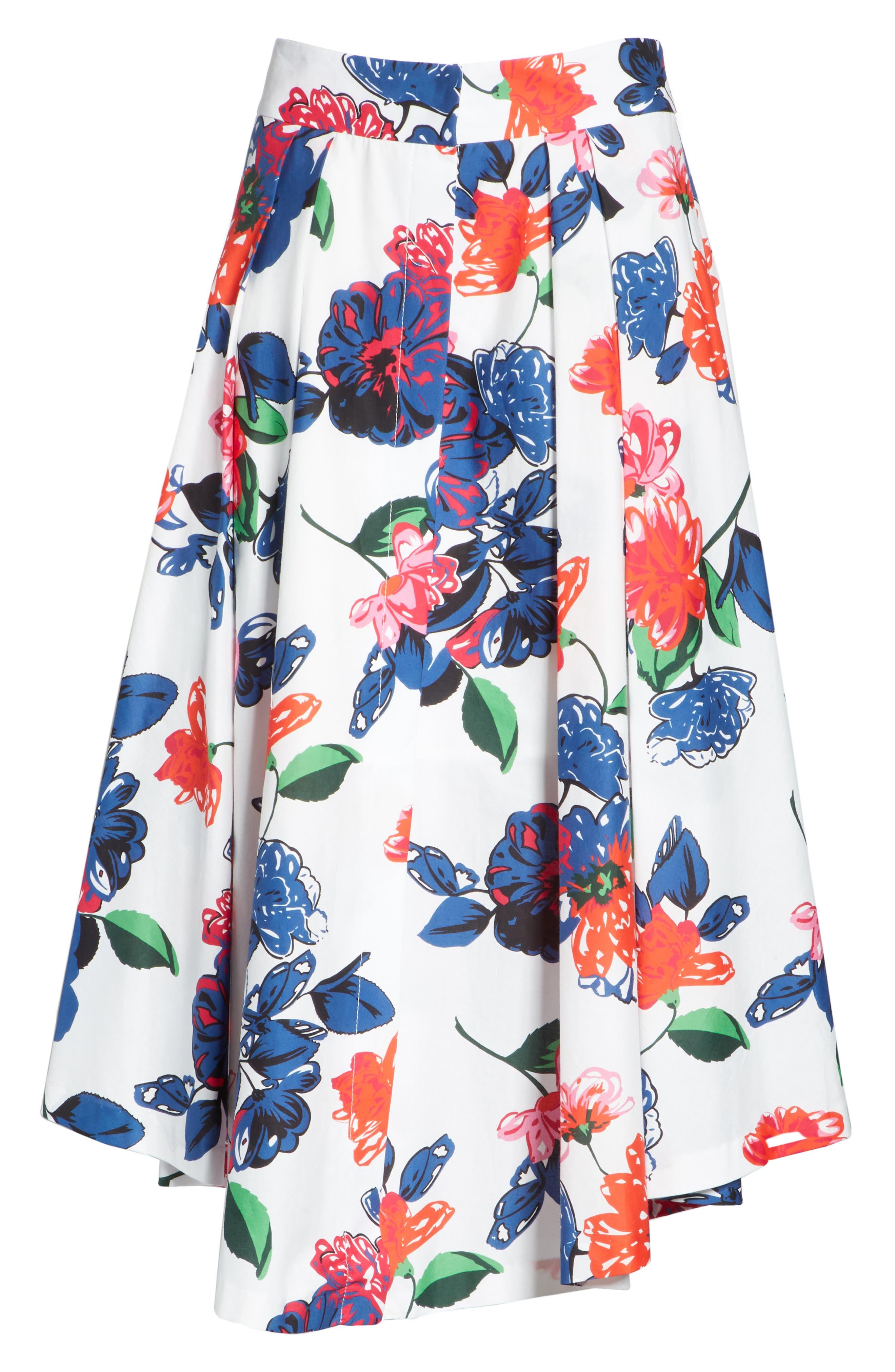 Floral Print Stretch Cotton Skirt,                             Alternate thumbnail 6, color,                             164