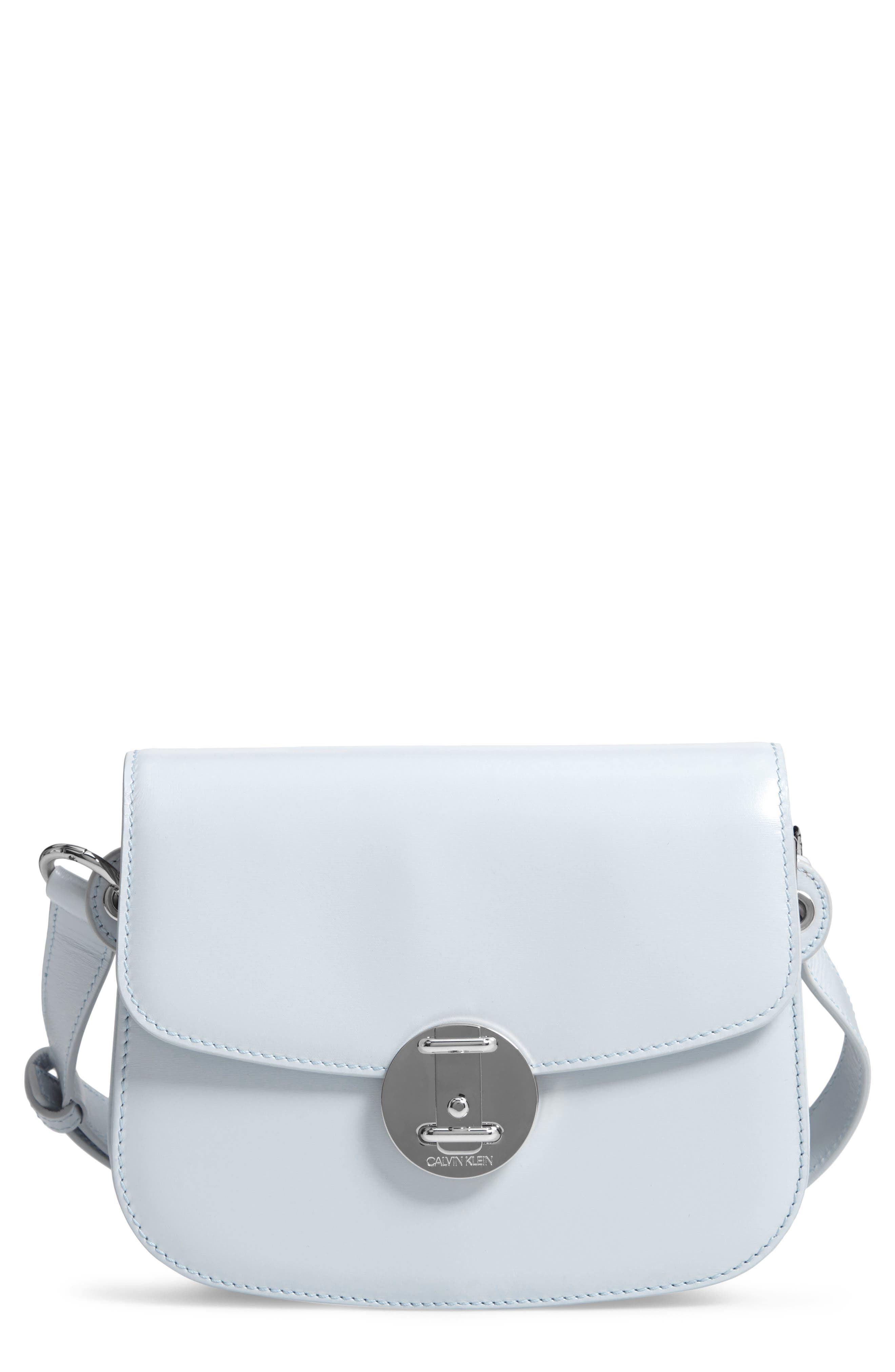 Small Round Lock Leather Shoulder Bag,                             Main thumbnail 1, color,                             CLOUD