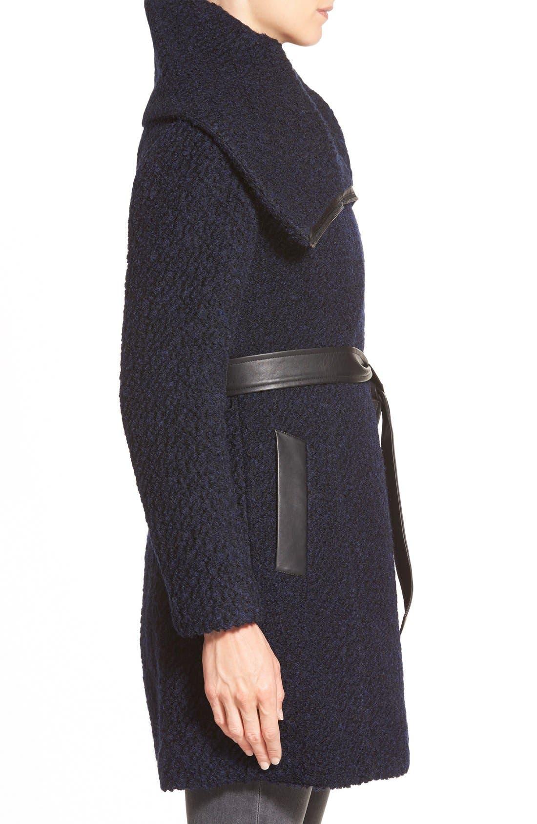 Belted Asymmetrical Bouclé Wool Blend Coat,                             Alternate thumbnail 4, color,                             004