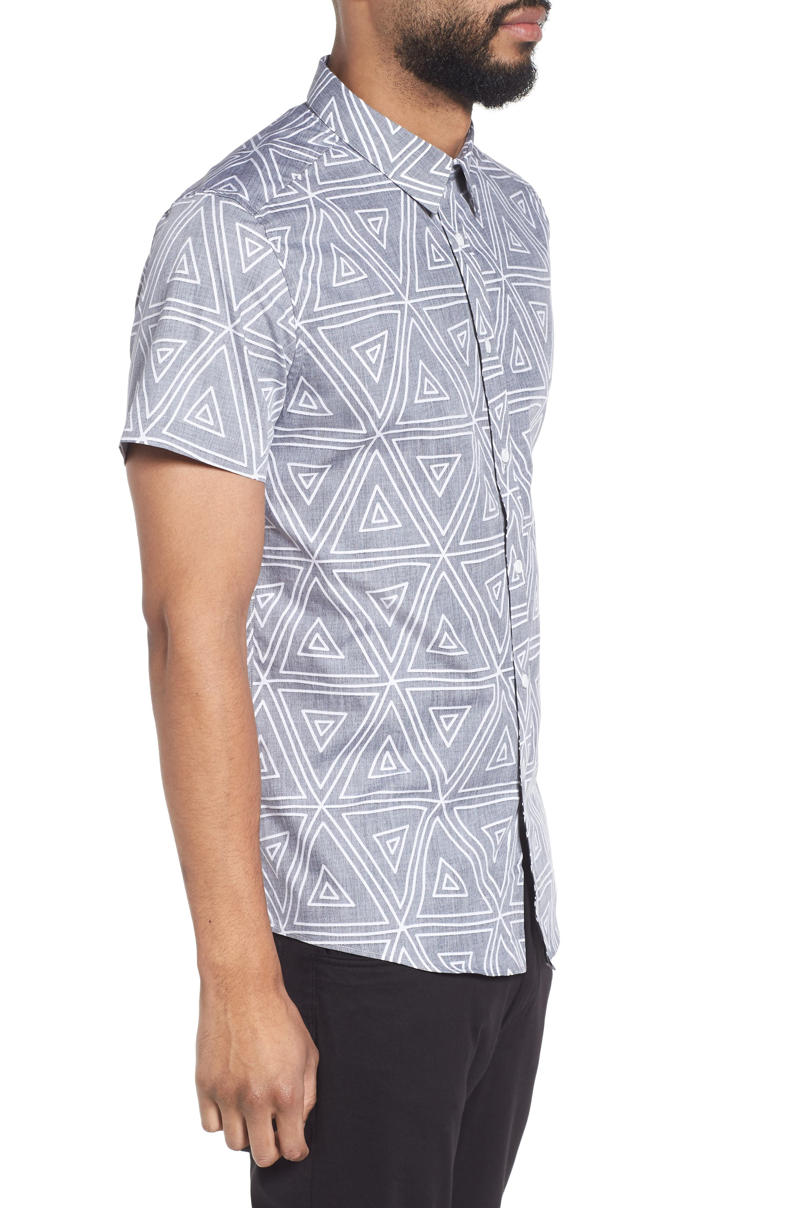 Geometric Woven Short Sleeve Shirt,                             Alternate thumbnail 3, color,                             004