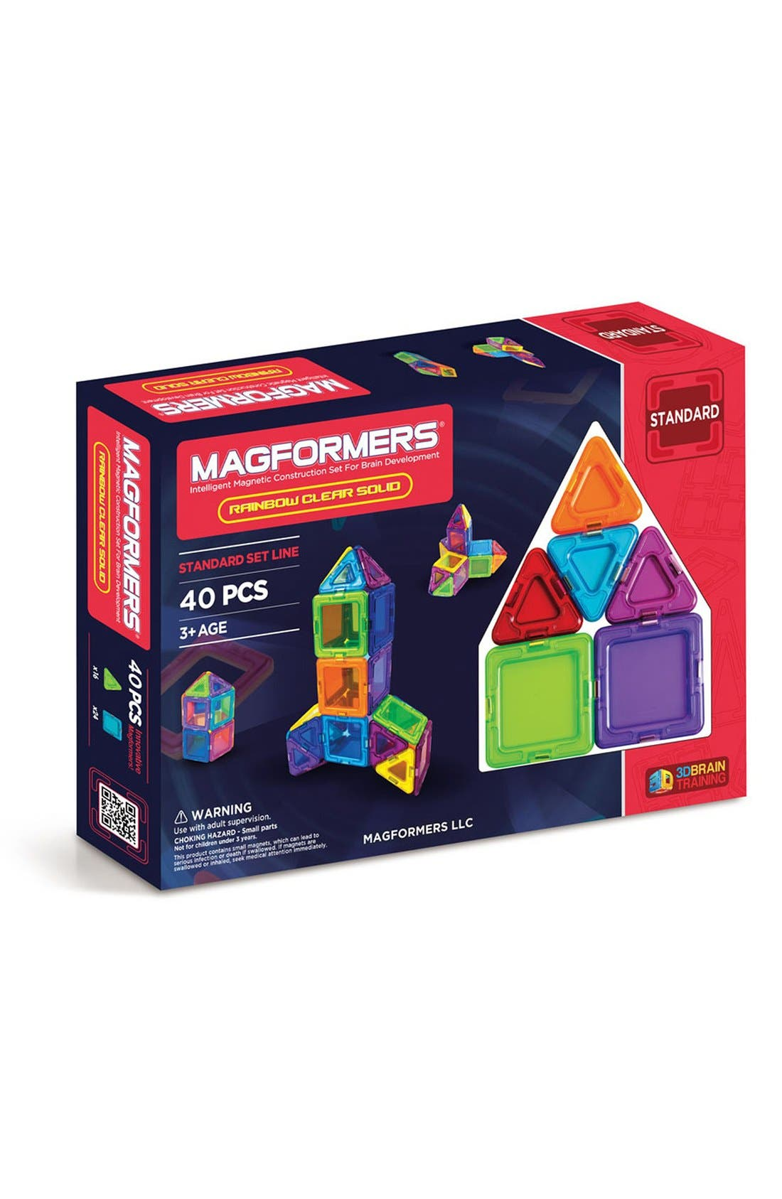 'Standard - Solids' Clear Magnetic 3D Construction Set,                             Main thumbnail 1, color,                             600