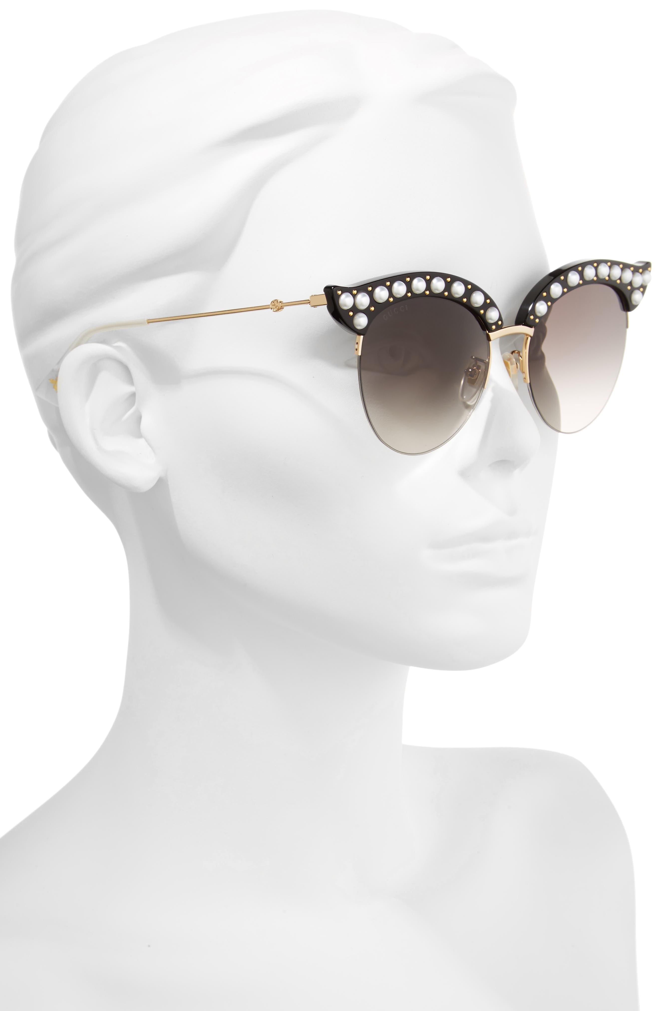 53mm Embellished Cat Eye Sunglasses,                             Alternate thumbnail 2, color,                             BLACK