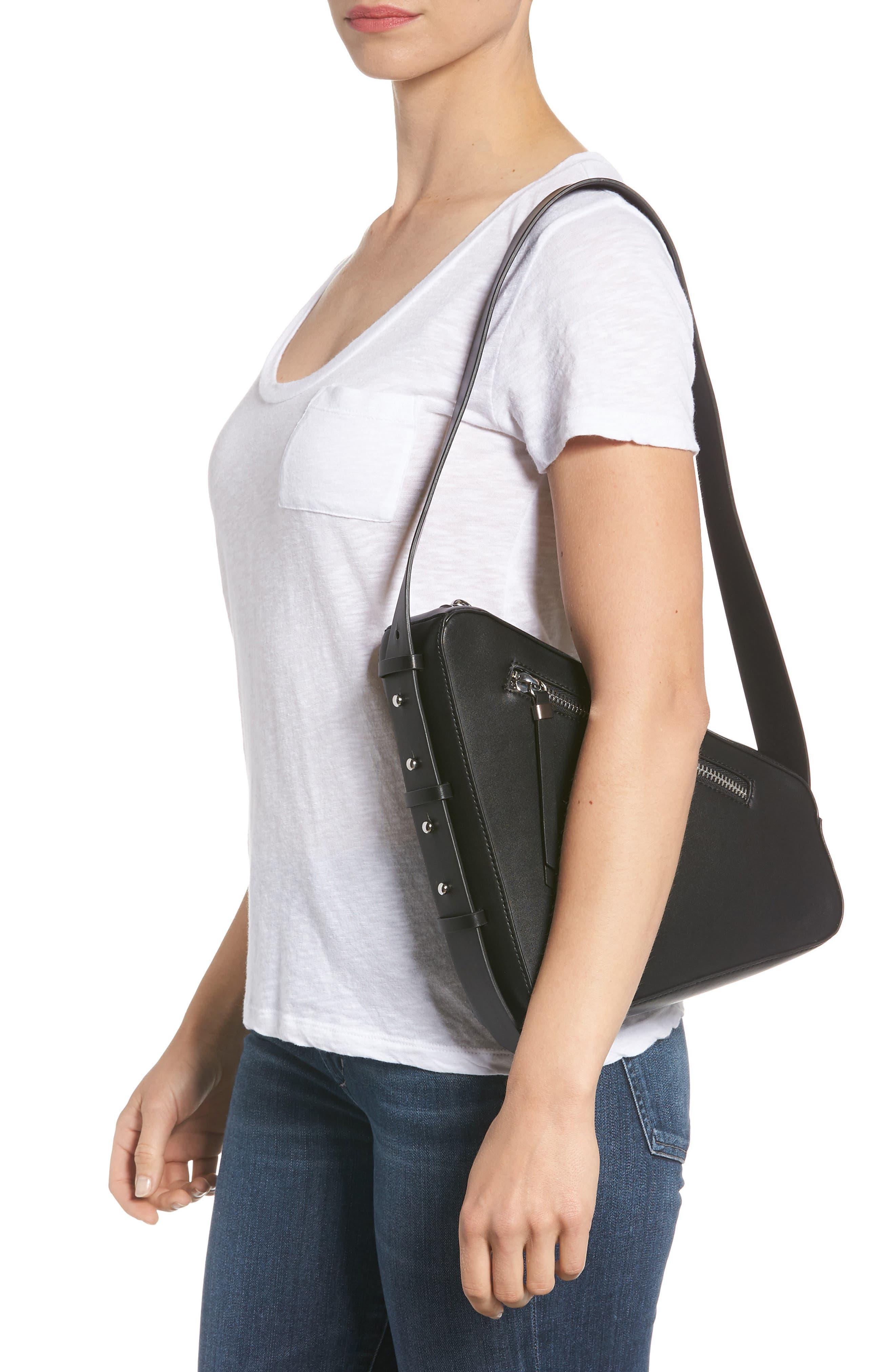 TOPSHOP,                             Triangle Zip Shoulder Bag,                             Alternate thumbnail 2, color,                             001