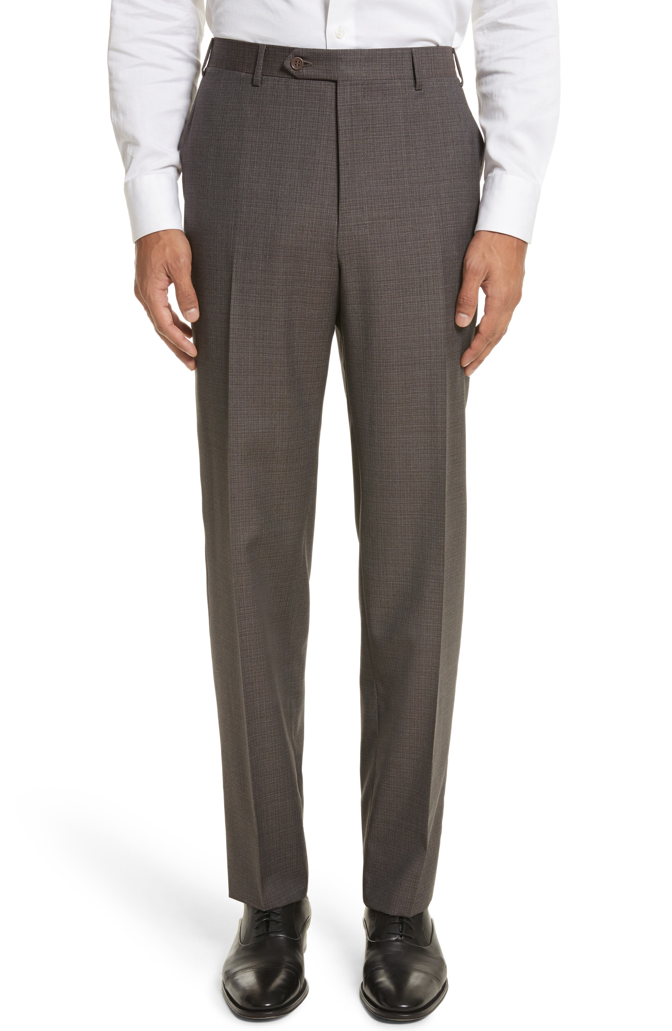Flat Front Check Wool Trousers,                         Main,                         color, 251