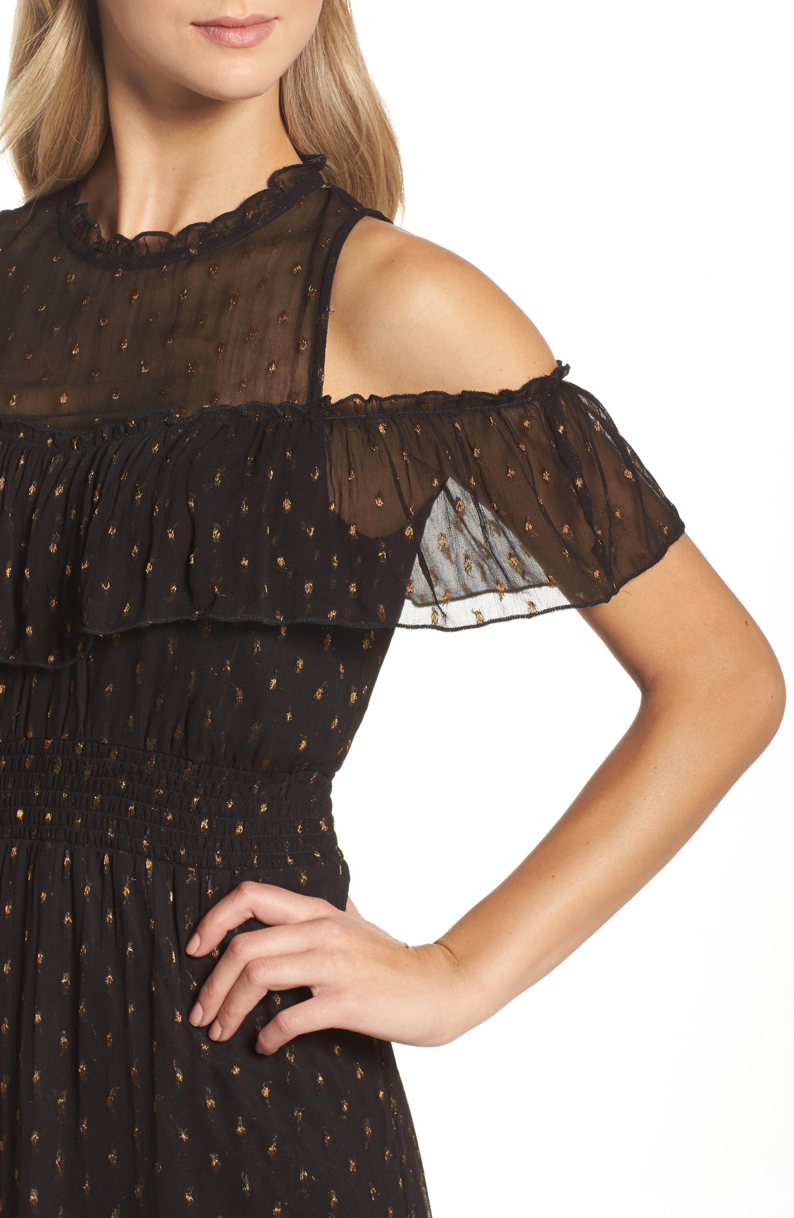 NSR,                             Lace Cold Shoulder Midi Dress,                             Alternate thumbnail 4, color,                             001
