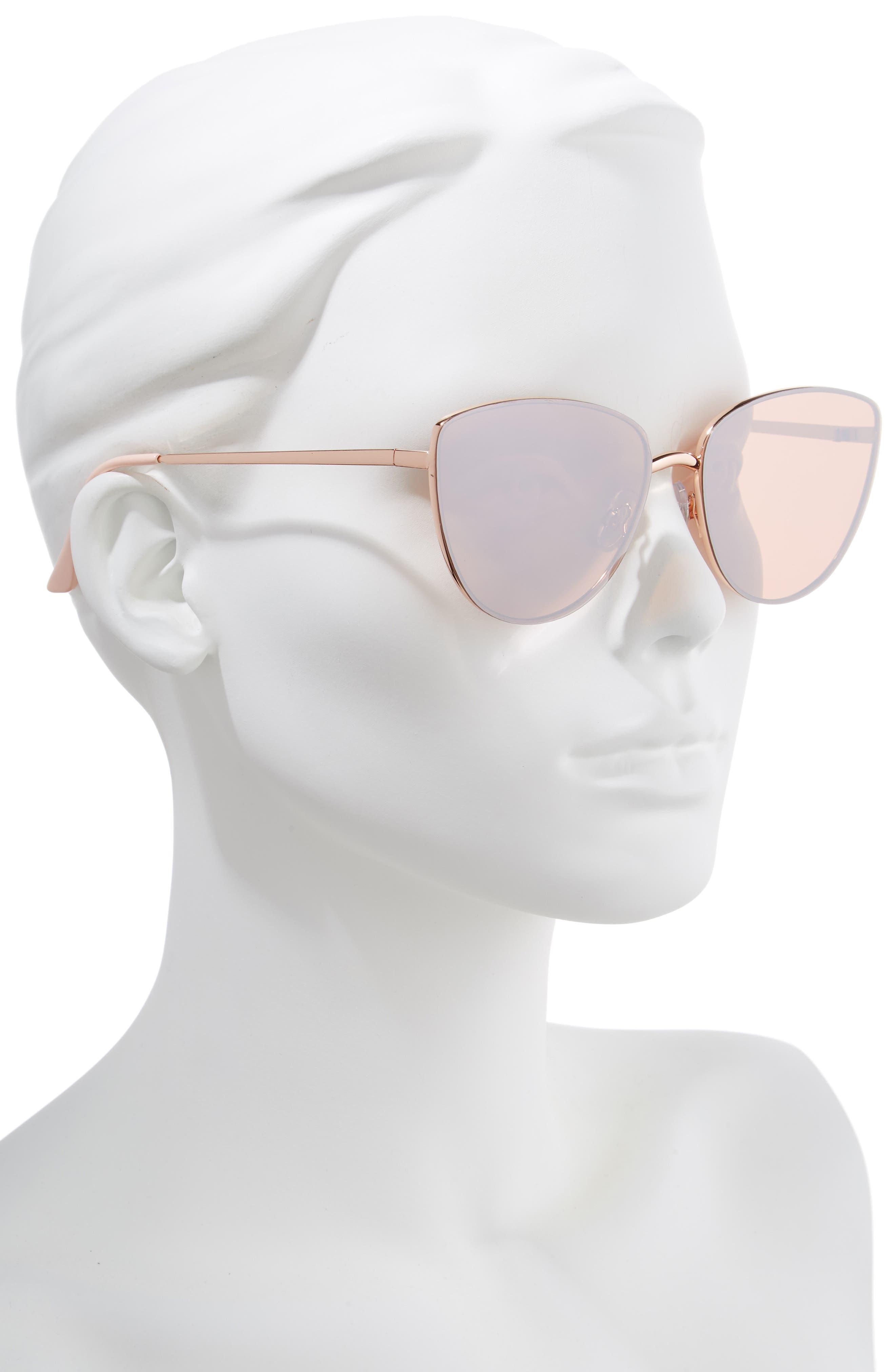 Rimless Cat Eye Sunglasses,                             Alternate thumbnail 2, color,                             ROSE GOLD
