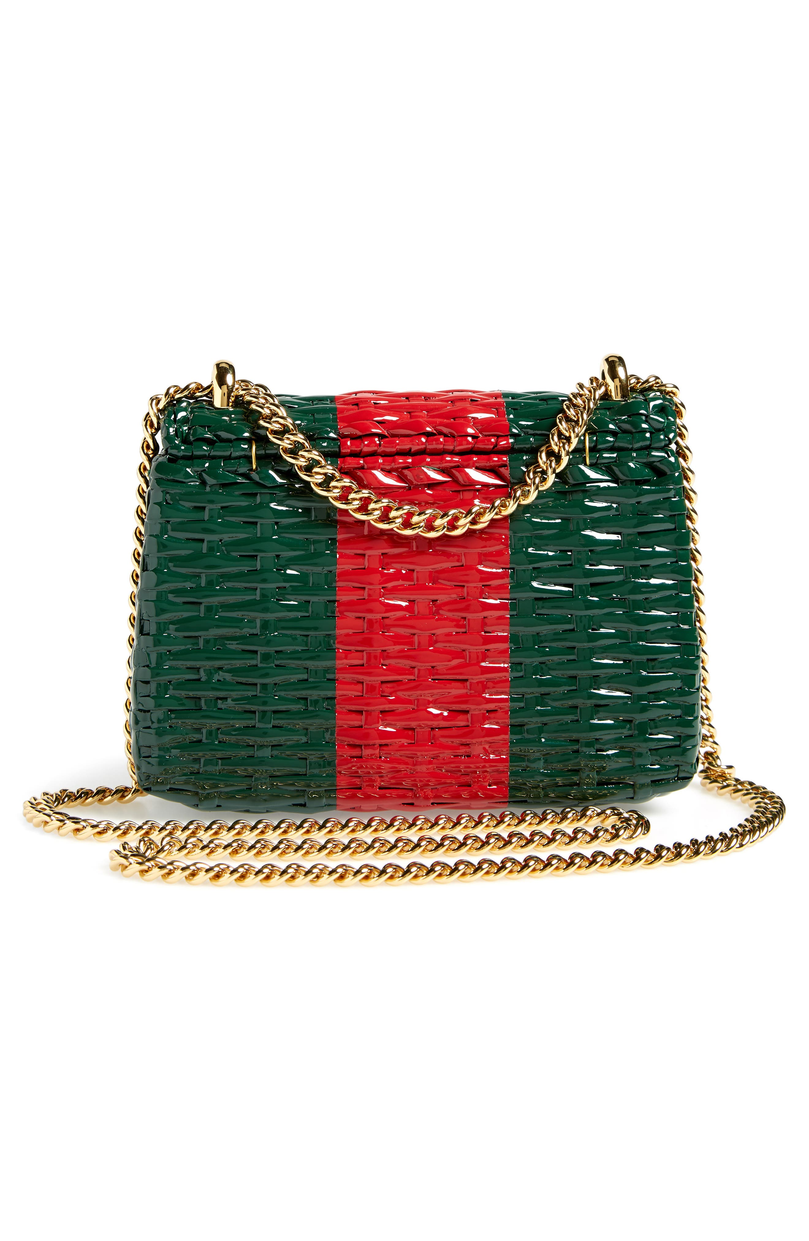 Small Linea Cestino Glazed Wicker Shoulder Bag,                             Alternate thumbnail 3, color,                             VERDE ROSSO VERDE