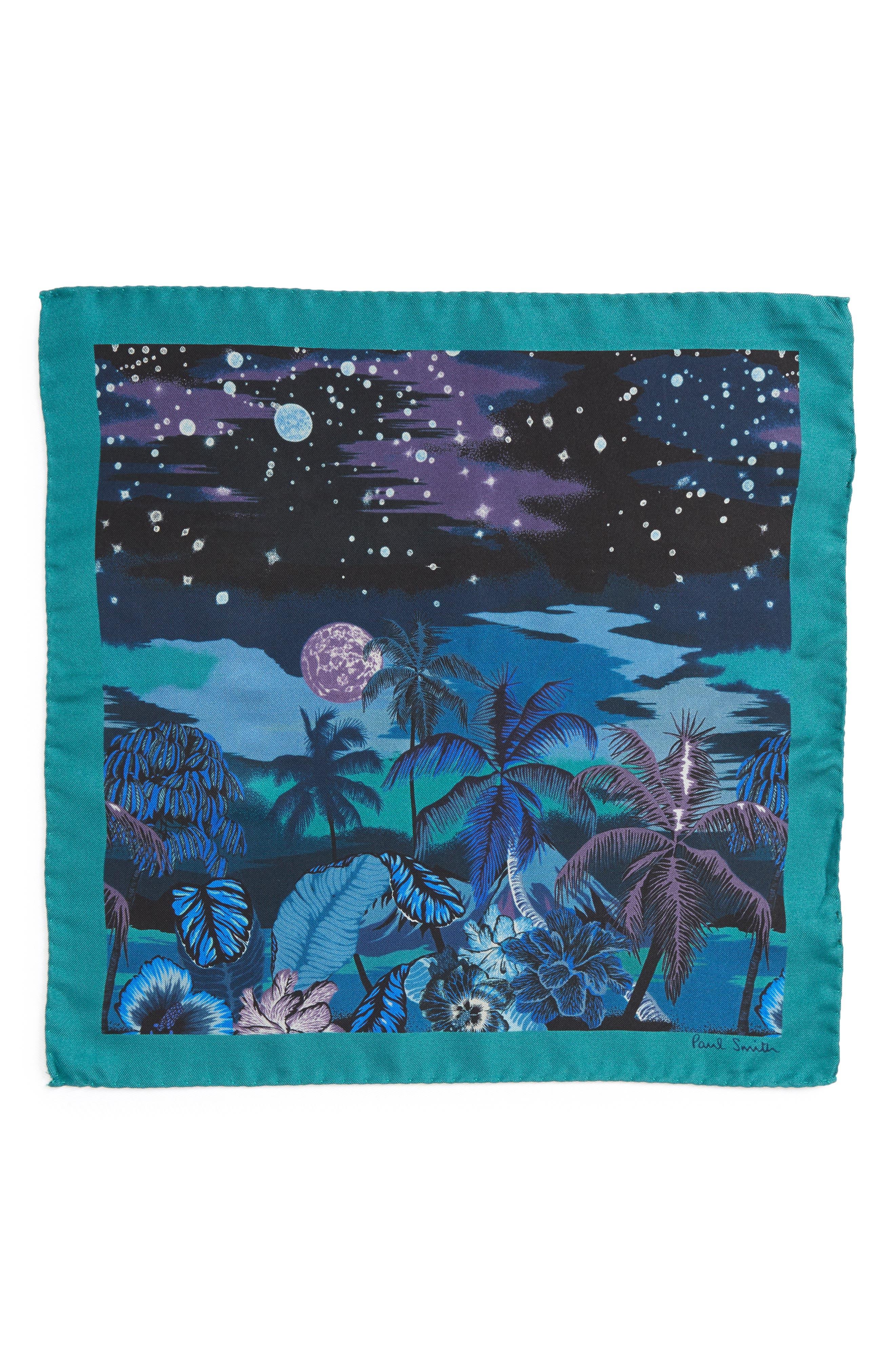 Luna Hawaiian Print Silk Pocket Square,                             Alternate thumbnail 2, color,                             400
