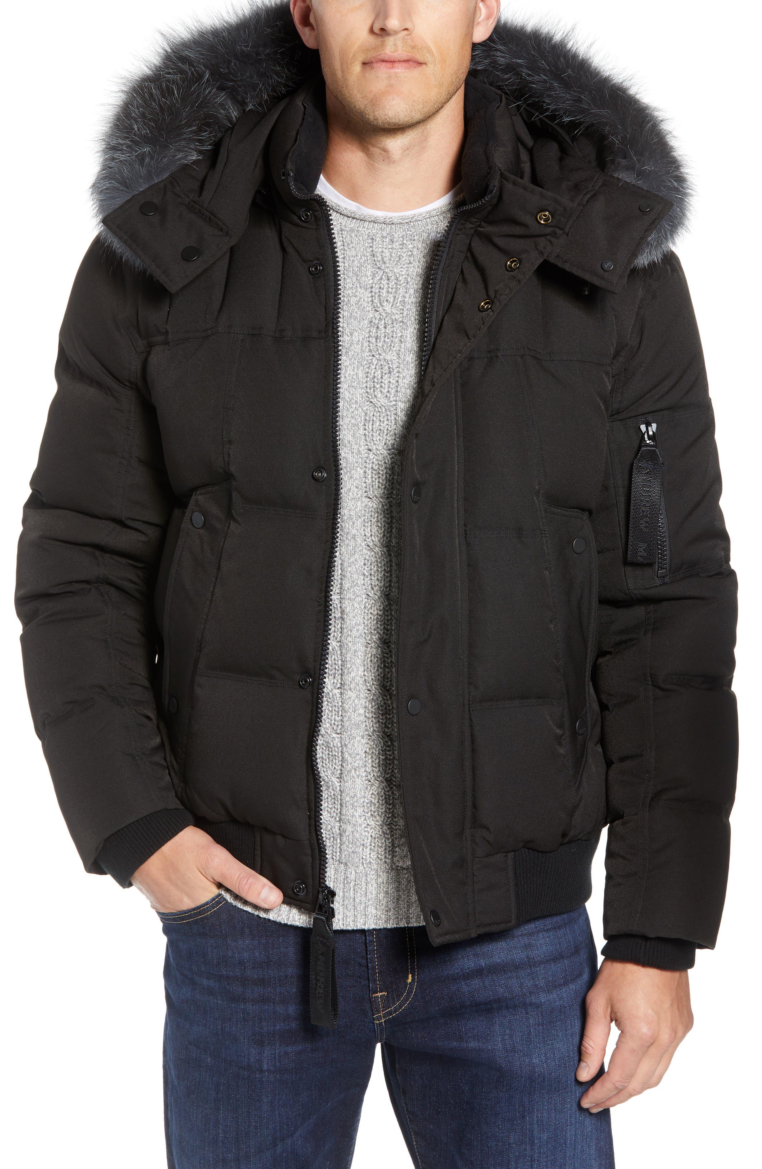 Bennett Genuine Fox Fur Trim Down Bomber Jacket,                         Main,                         color, BLACK
