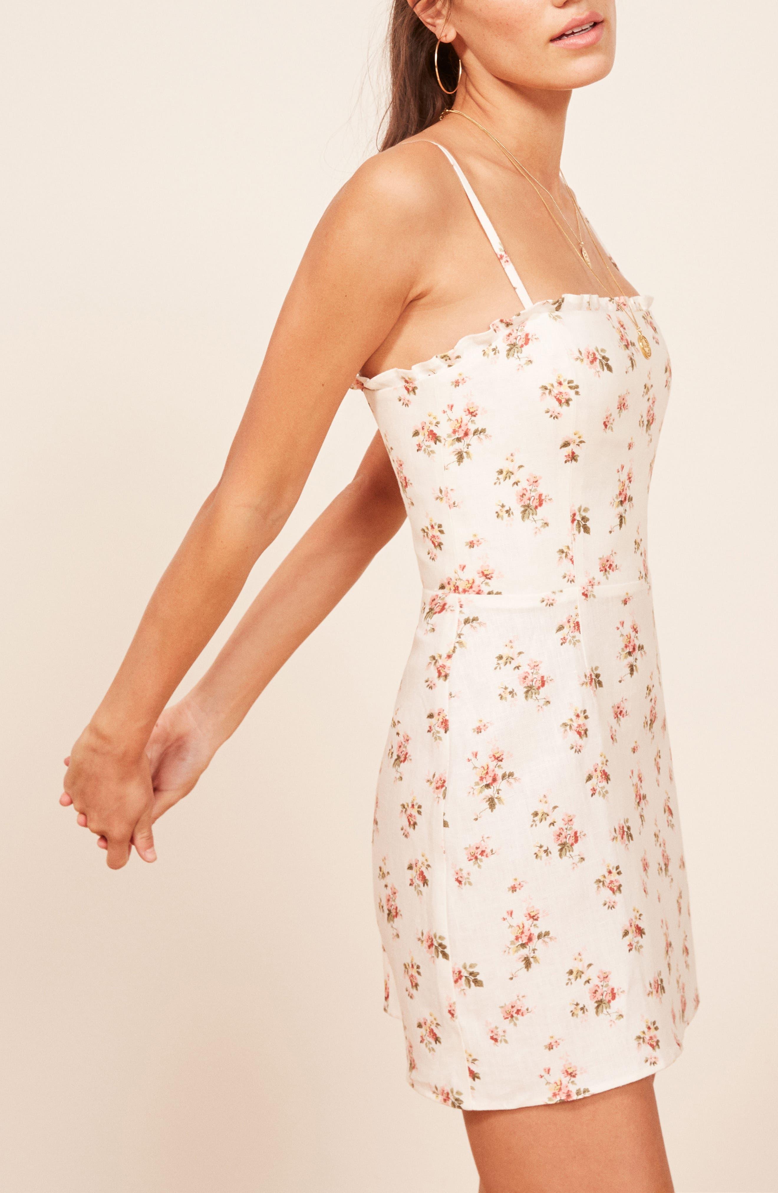 Ava Ruffle Linen Minidress,                             Alternate thumbnail 3, color,                             100