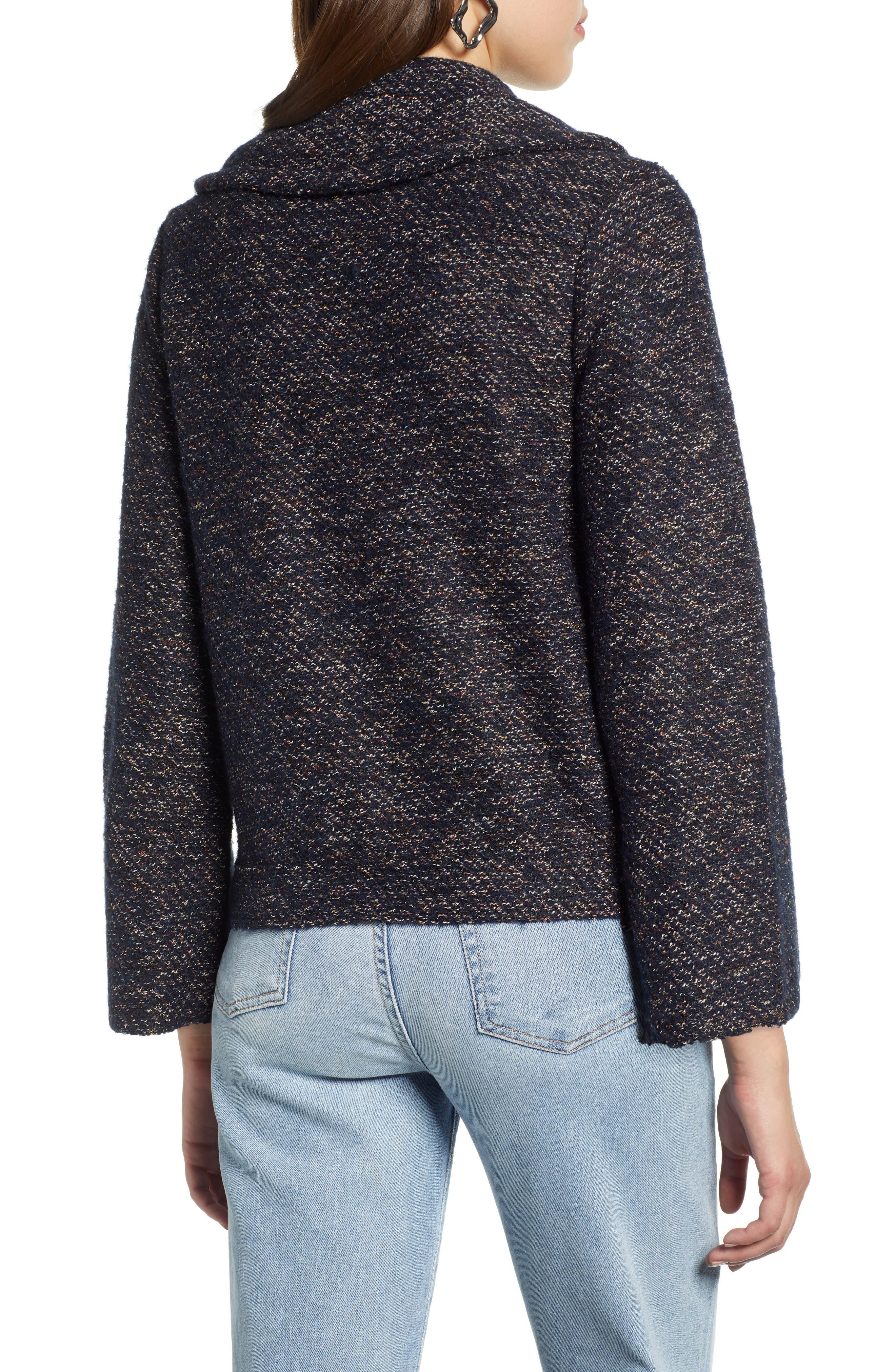 Tweed Moto Jacket,                             Alternate thumbnail 2, color,                             NAVY SPECKLE