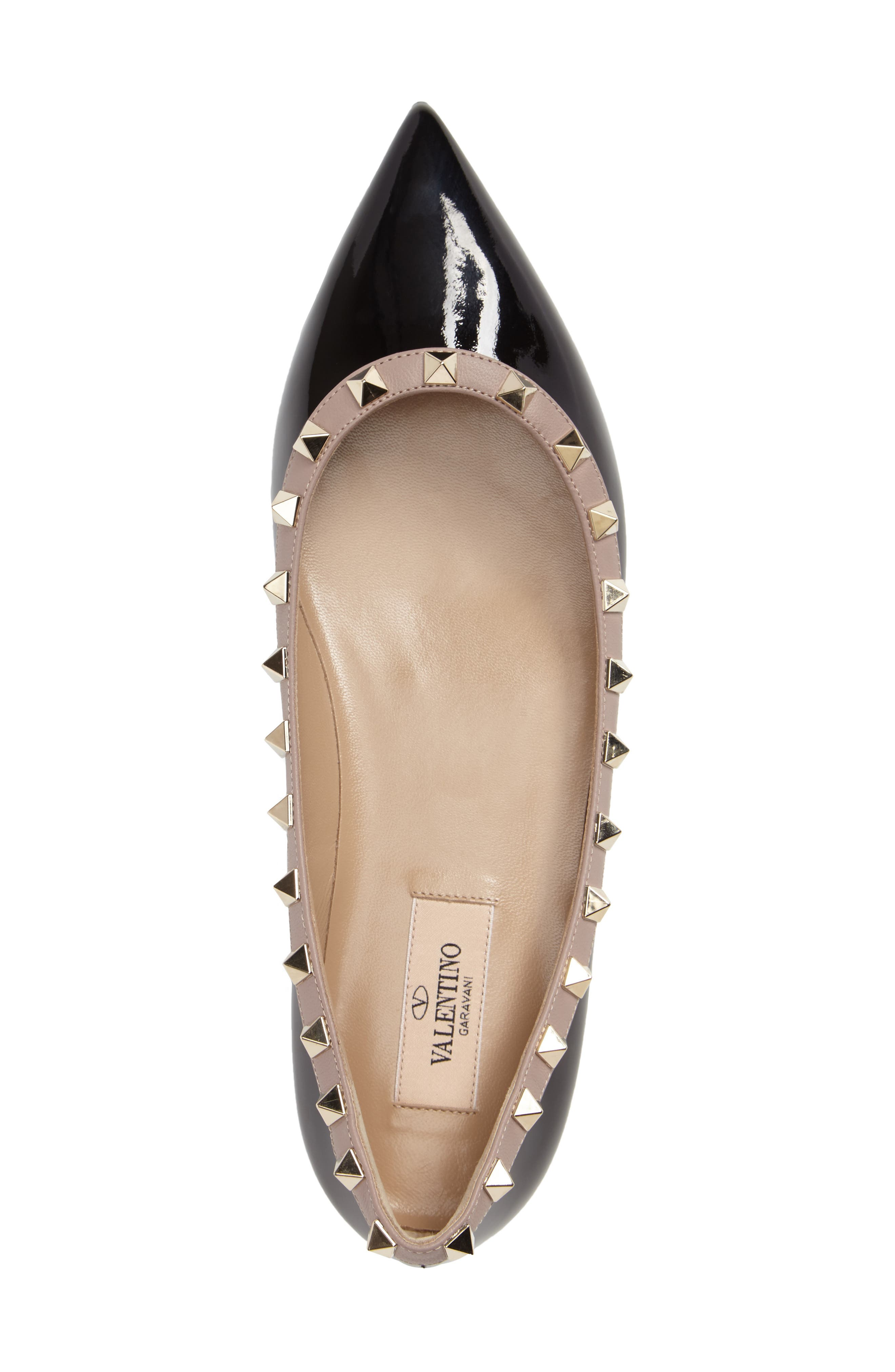 Rockstud Ballerina Flat,                             Alternate thumbnail 4, color,                             BLACK/ BLUSH