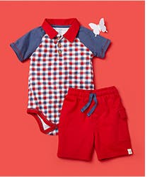 A gingham onesie and shorts for babies.