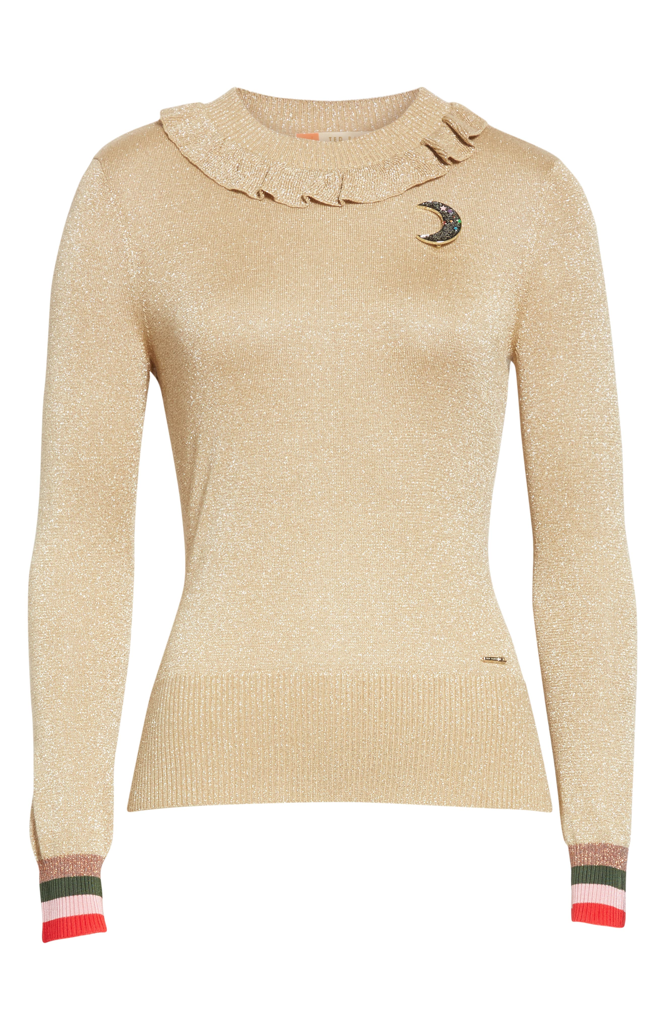 Colour by Numbers Hawen Metallic Knit Sweater,                             Alternate thumbnail 6, color,                             GOLD
