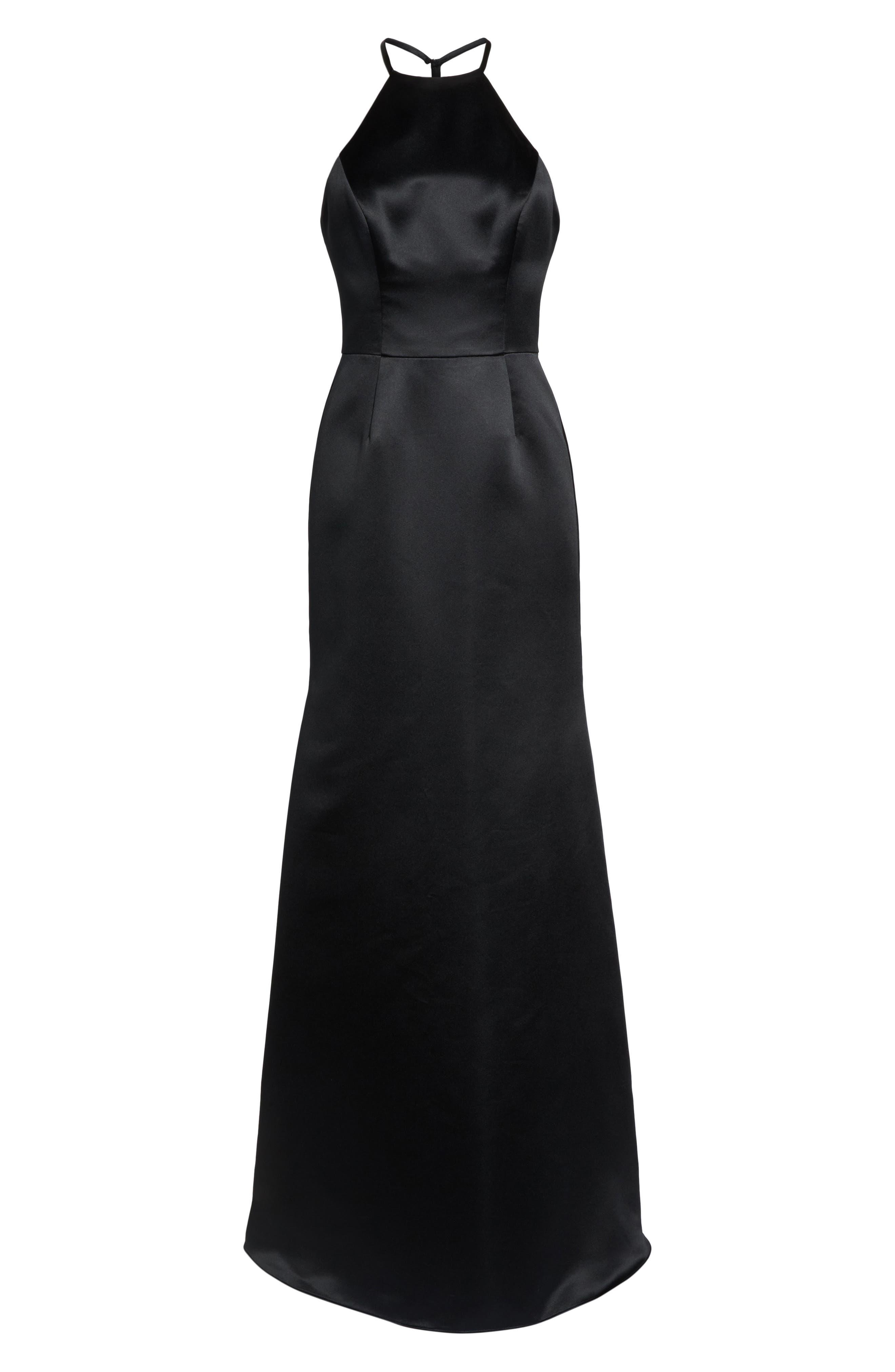Satin A-Line Gown,                             Alternate thumbnail 6, color,                             BLACK
