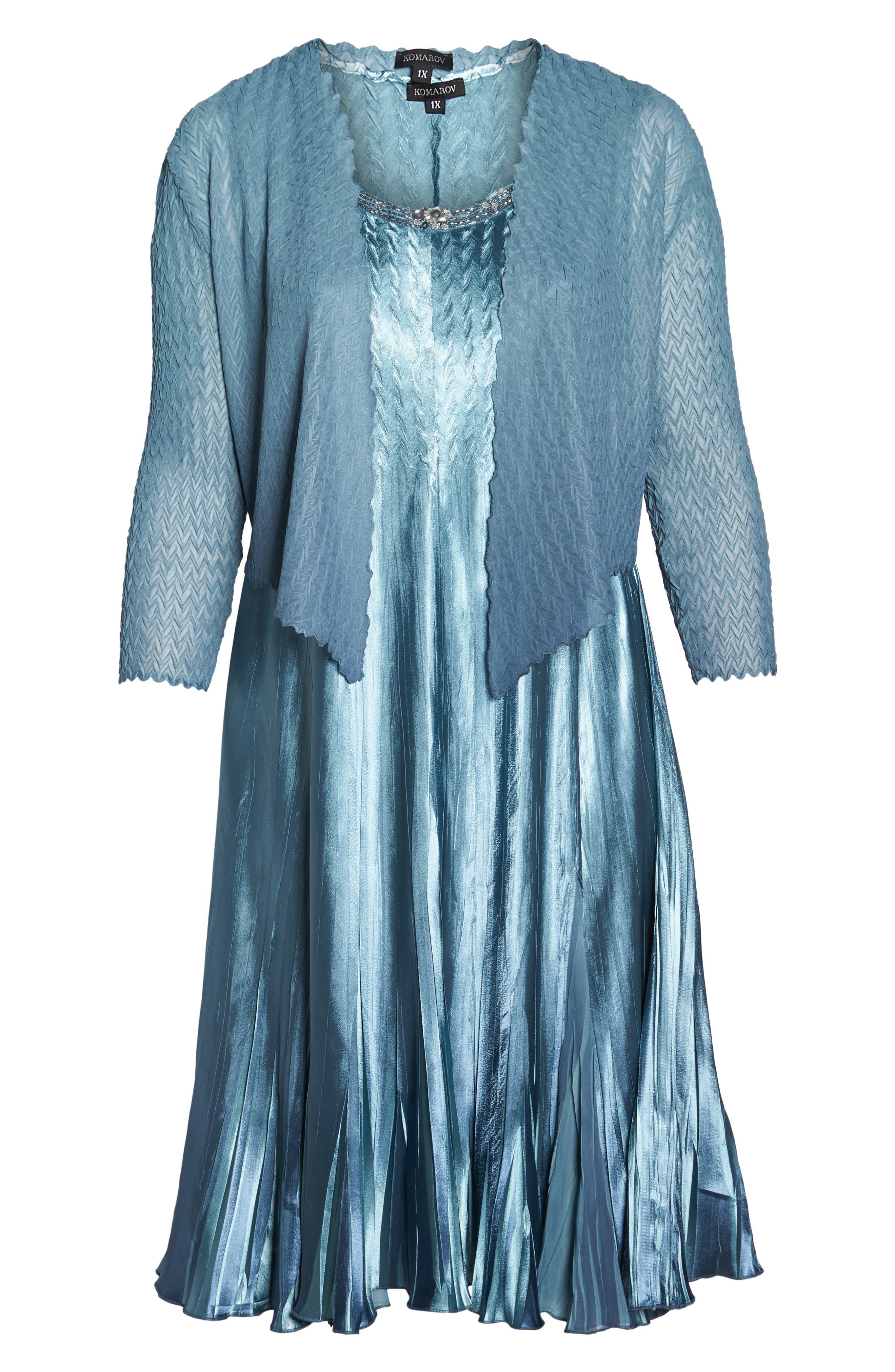 Embellished Charmeuse & Chiffon Dress with Jacket,                             Alternate thumbnail 6, color,                             460