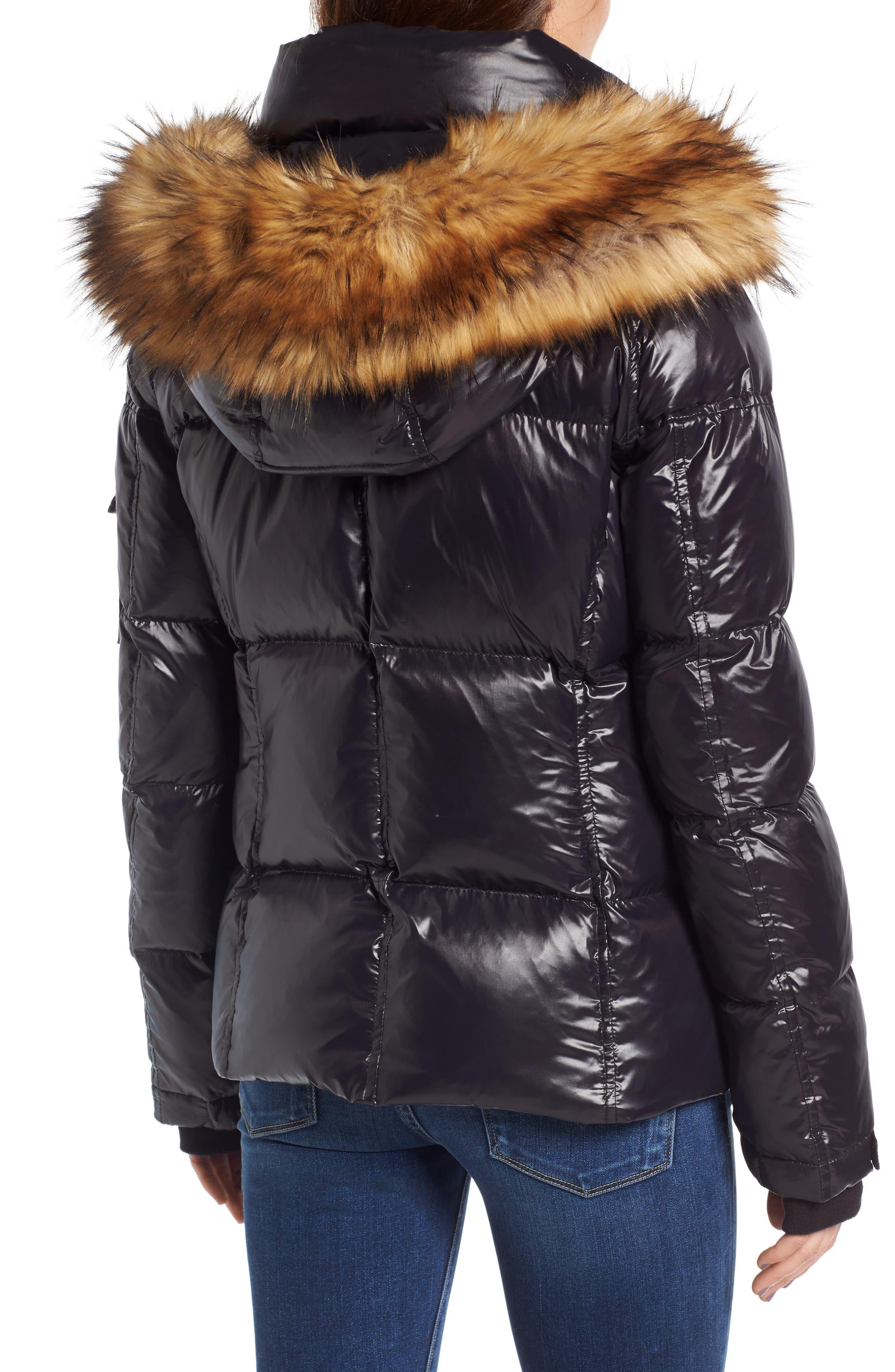 Kylie Faux Fur Trim Gloss Puffer Jacket,                             Alternate thumbnail 11, color,