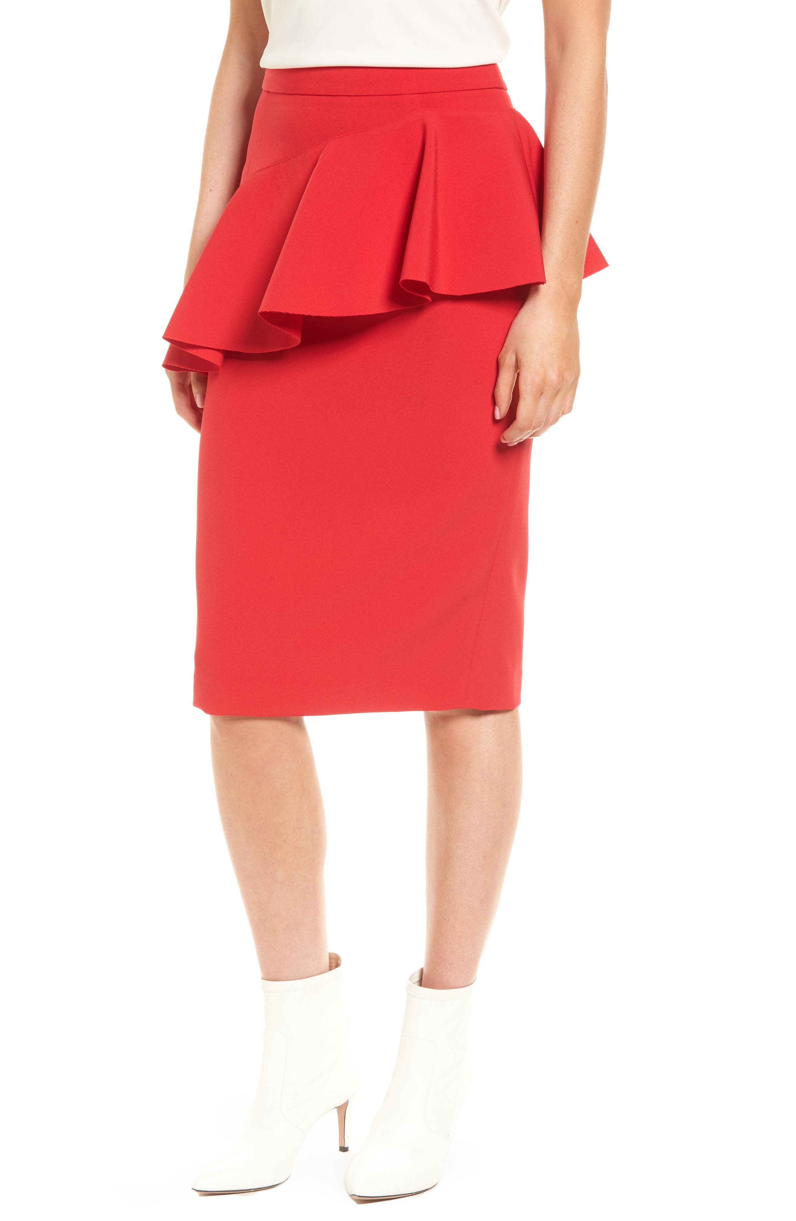 Ruffle Detail Pencil Skirt,                             Main thumbnail 2, color,