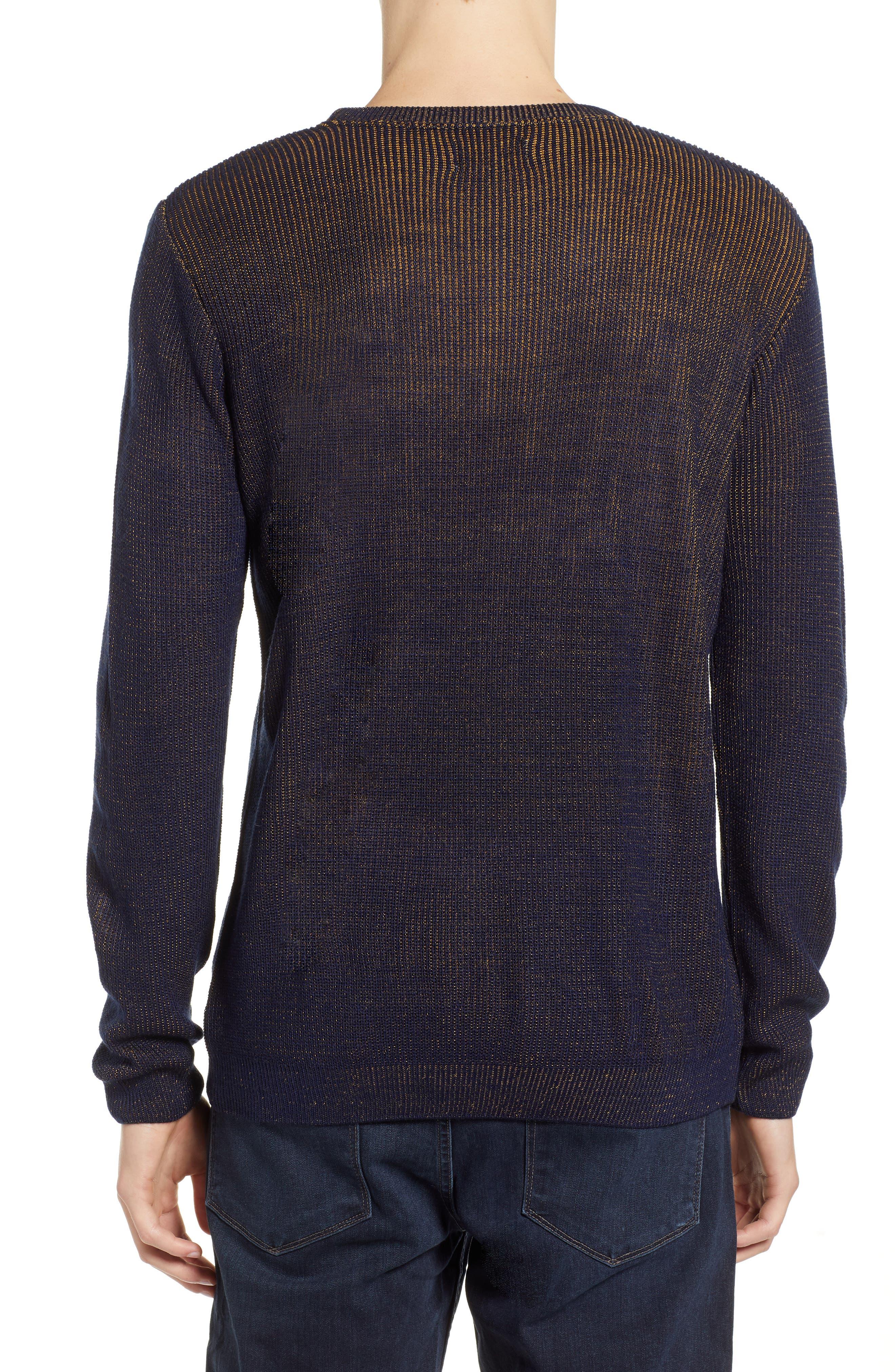 Plaited Crewneck Sweater,                             Alternate thumbnail 2, color,                             NAVY