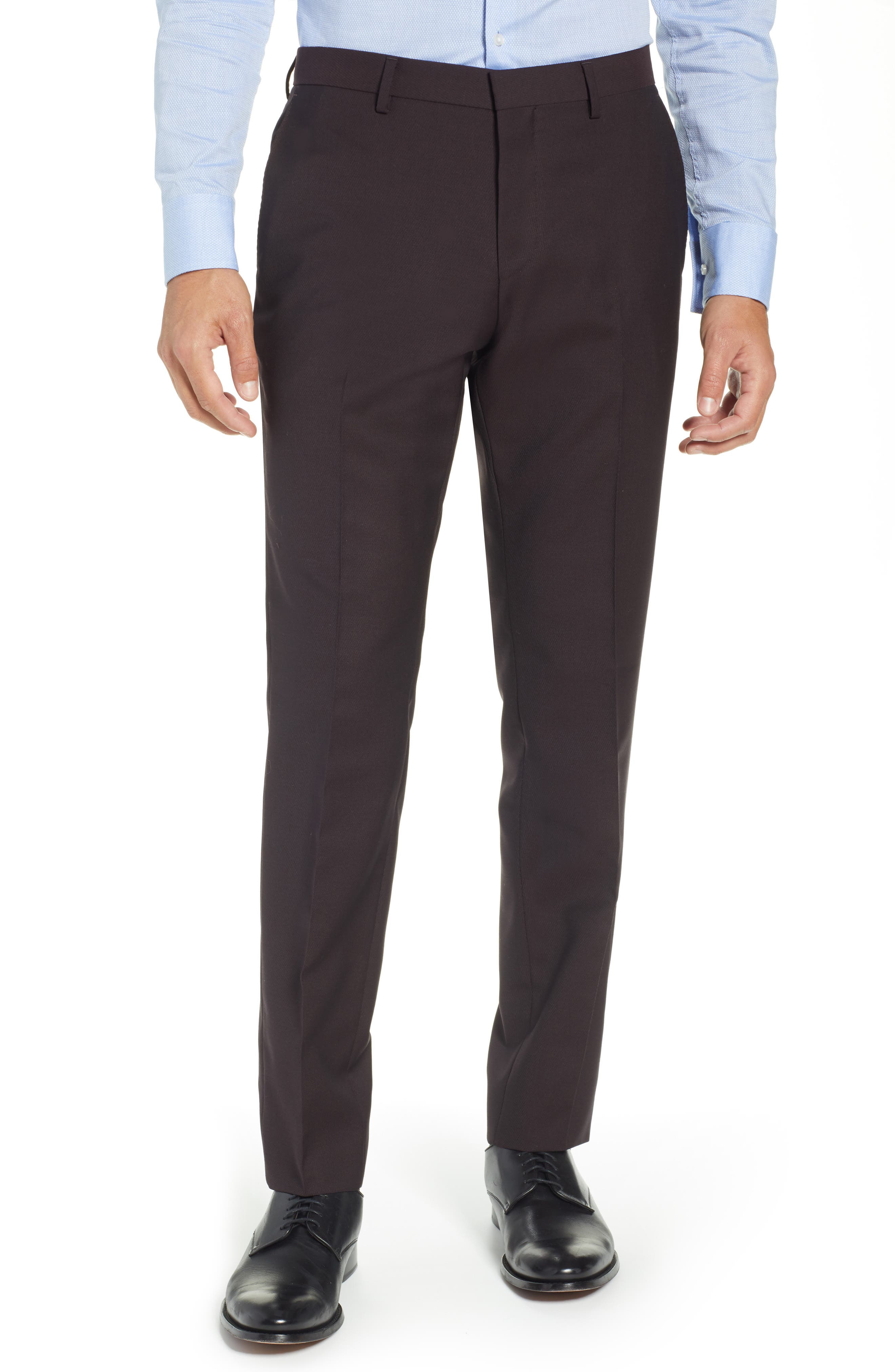 TED BAKER LONDON,                             Buftro Flat Front Slim Twill Trousers,                             Main thumbnail 1, color,                             BLUE