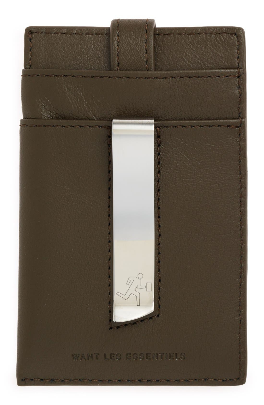 'Kennedy' Leather Money Clip Card Case,                             Alternate thumbnail 8, color,